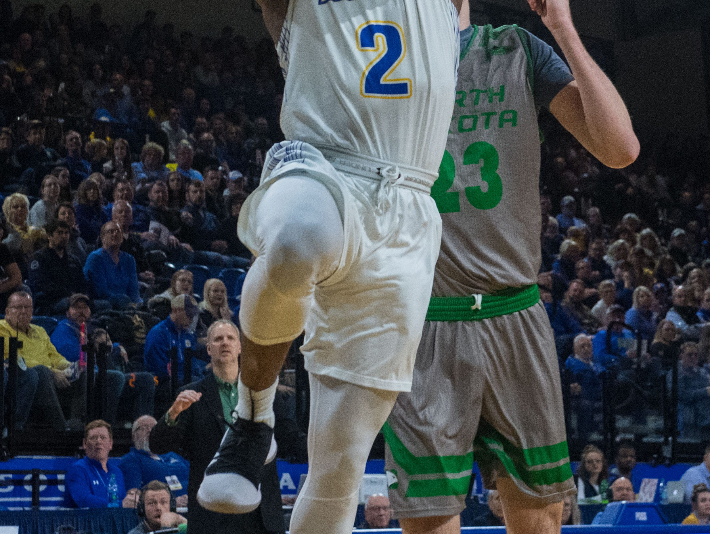 South Dakota State's Tevin King (2) shoots the ball during a game against North Dakota in Brookings, S.D., Saturday, Feb. 9, 2019.