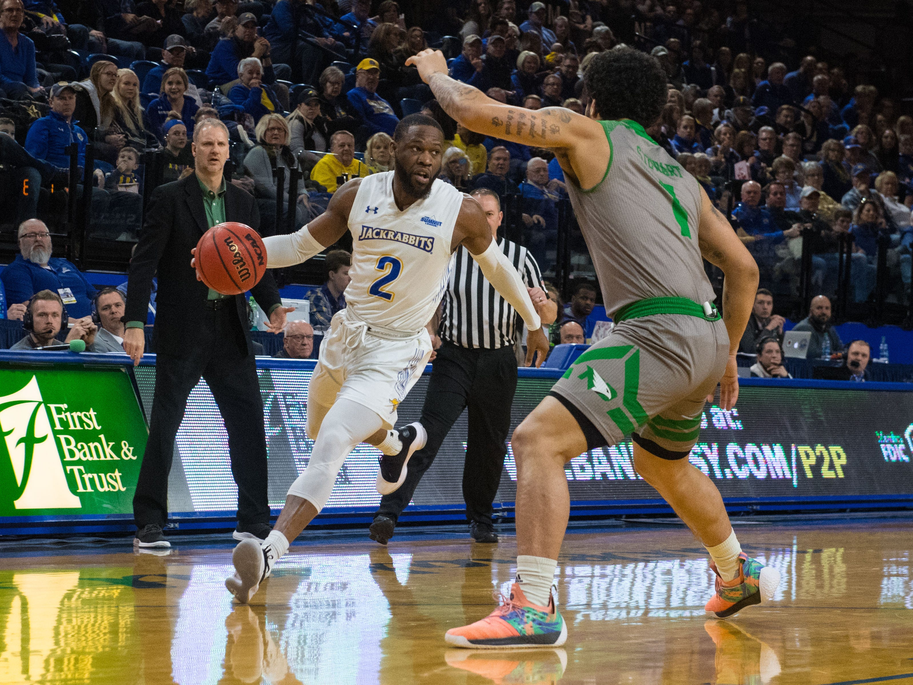 South Dakota State's Tevin King (2) dribbles the ball during a game against North Dakota in Brookings, S.D., Saturday, Feb. 9, 2019.