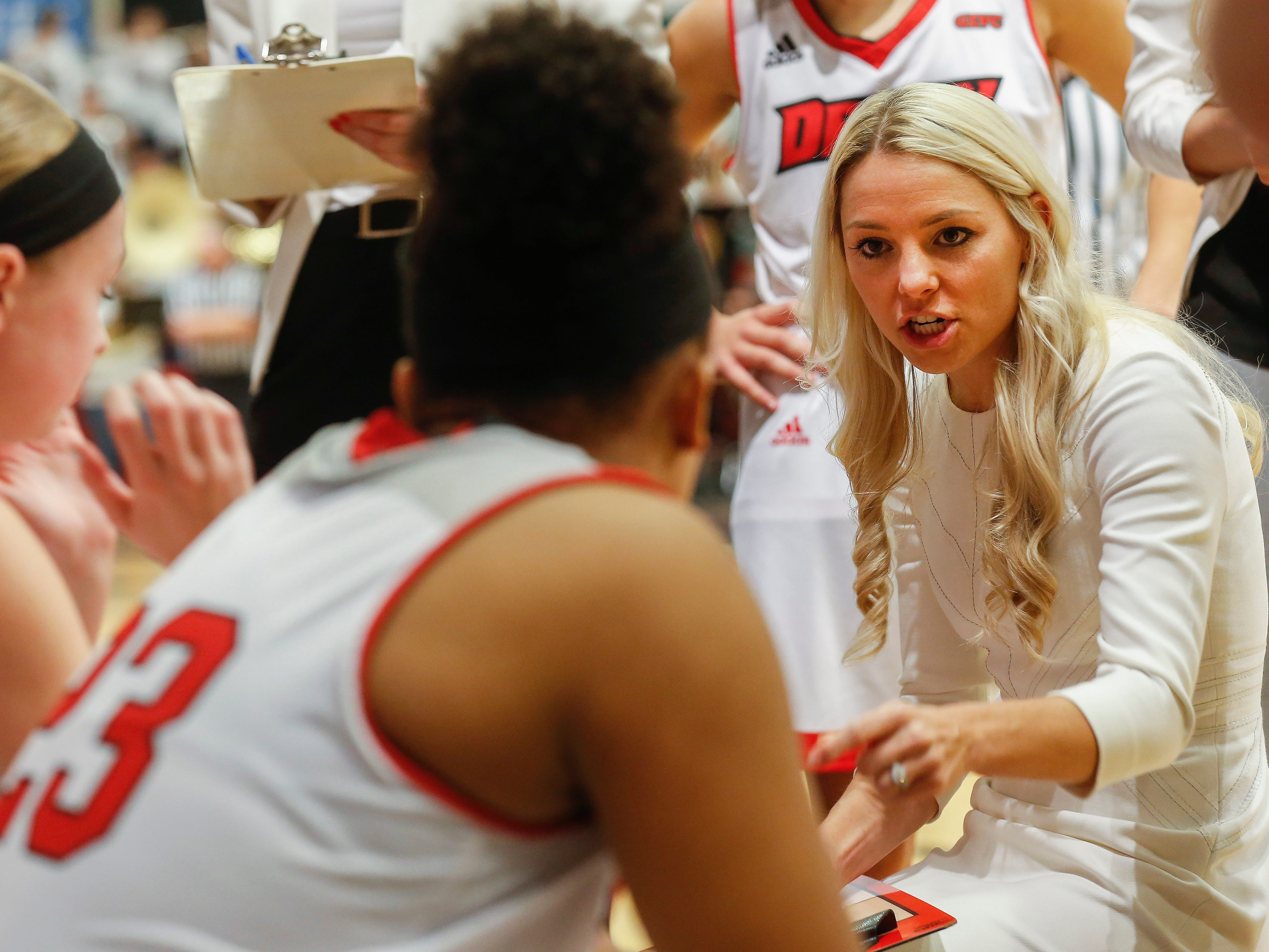 Drury head coach Molly Miller talks to her players during the Lady Panthers' 77-44 win over the University of Missouri St. Louis Tritons during the Overflow the O game at the O'Reilly Family Event Center on Saturday, Feb. 9, 2019.