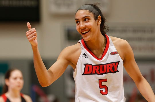 Daejah Bernard, of Drury, gives the thumbs-up to her bench during the Lady Panthers' 77-44 win over the University of Missouri St. Louis Tritons during the Overflow the O game at the O'Reilly Family Event Center on Saturday, Feb. 9, 2019.