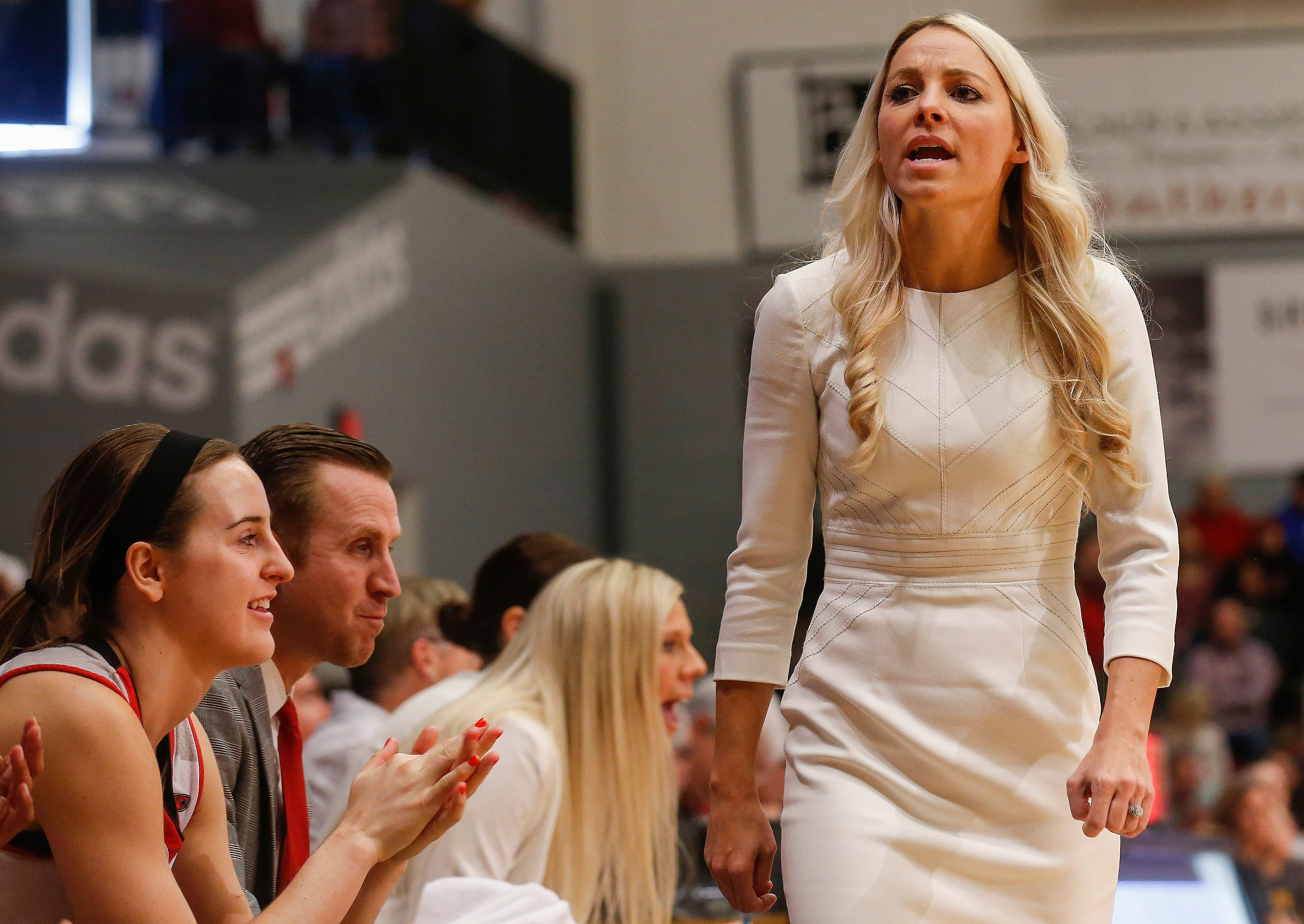 Drury head coach Molly Miller calls a player off the bench during the Lady Panthers' 77-44 win over the University of Missouri St. Louis Tritons during the Overflow the O game at the O'Reilly Family Event Center on Saturday, Feb. 9, 2019.
