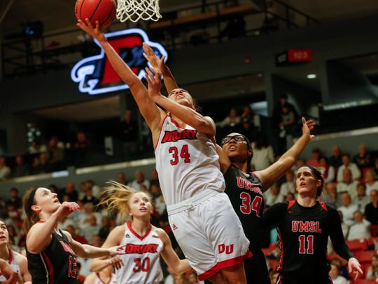 Hailey Diestelkamp, of Drury, puts up a shot during the Lady Panthers' 77-44 win over the University of Missouri St. Louis Tritons during the Overflow the O game at the O'Reilly Family Event Center on Saturday, Feb. 9, 2019.