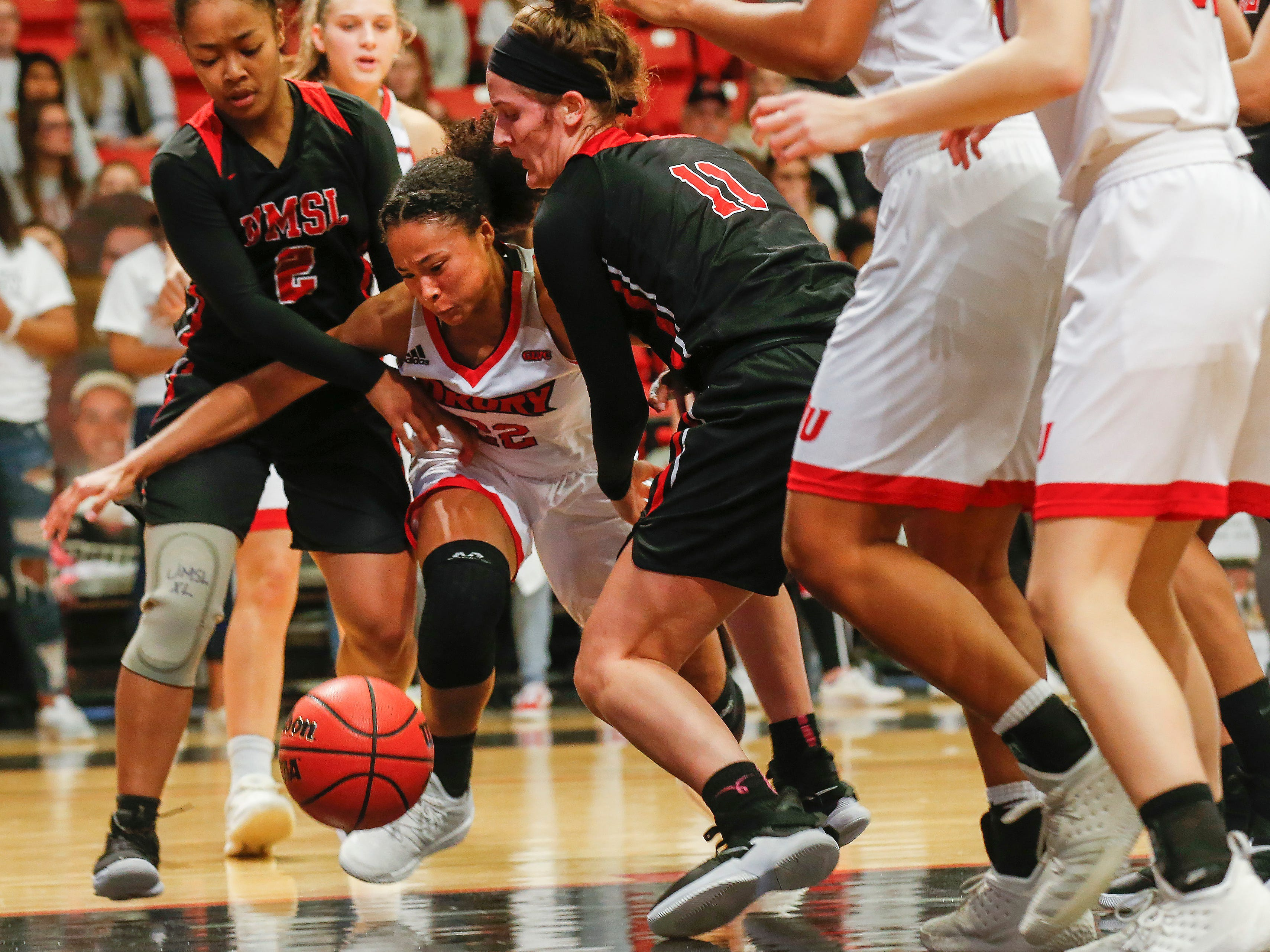 Lauren Shipley, of Drury, goes after a loose ball during the Lady Panthers' 77-44 win over the University of Missouri St. Louis Tritons during the Overflow the O game at the O'Reilly Family Event Center on Saturday, Feb. 9, 2019.