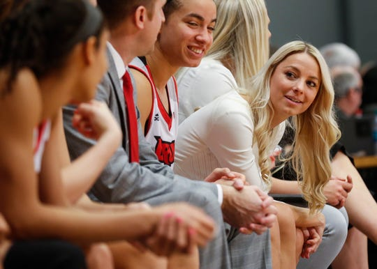 Drury head coach Molly Miller talks to her players during the Lady Panthers' 77-44 win over the University of Missouri St. Louis Tritons during the Overflow the O game at the O'Reilly Family Event Center on Feb. 9, 2019.