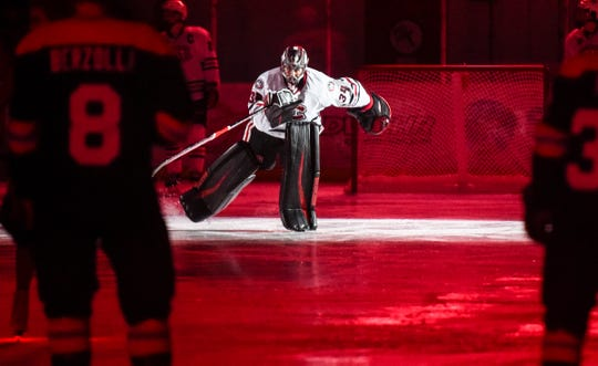 St. Cloud State goaltender David Hrenak is introduced before the start of the Friday, Feb. 8, game against Colorado College at the Herb Brooks National Hockey Center in St. Cloud.