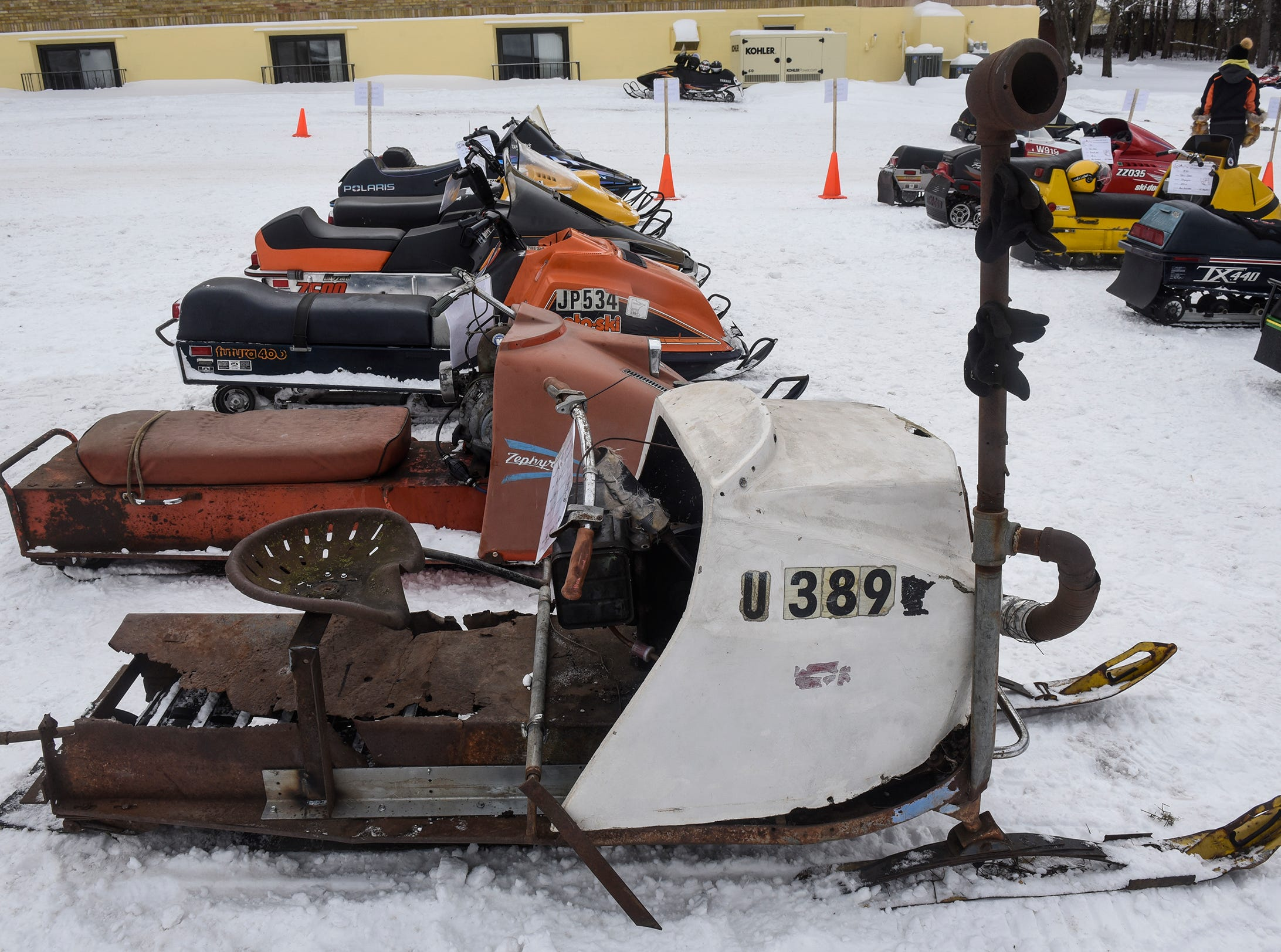 Vintage sleds are on display Saturday, Feb. 9, during the St. Stephen River Runners snowmobile club's 50th Anniversary Celebration in St. Stephen.
