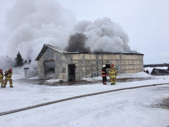 A shed an its contents burned in a fire near Richmond on Saturday, Feb. 9.