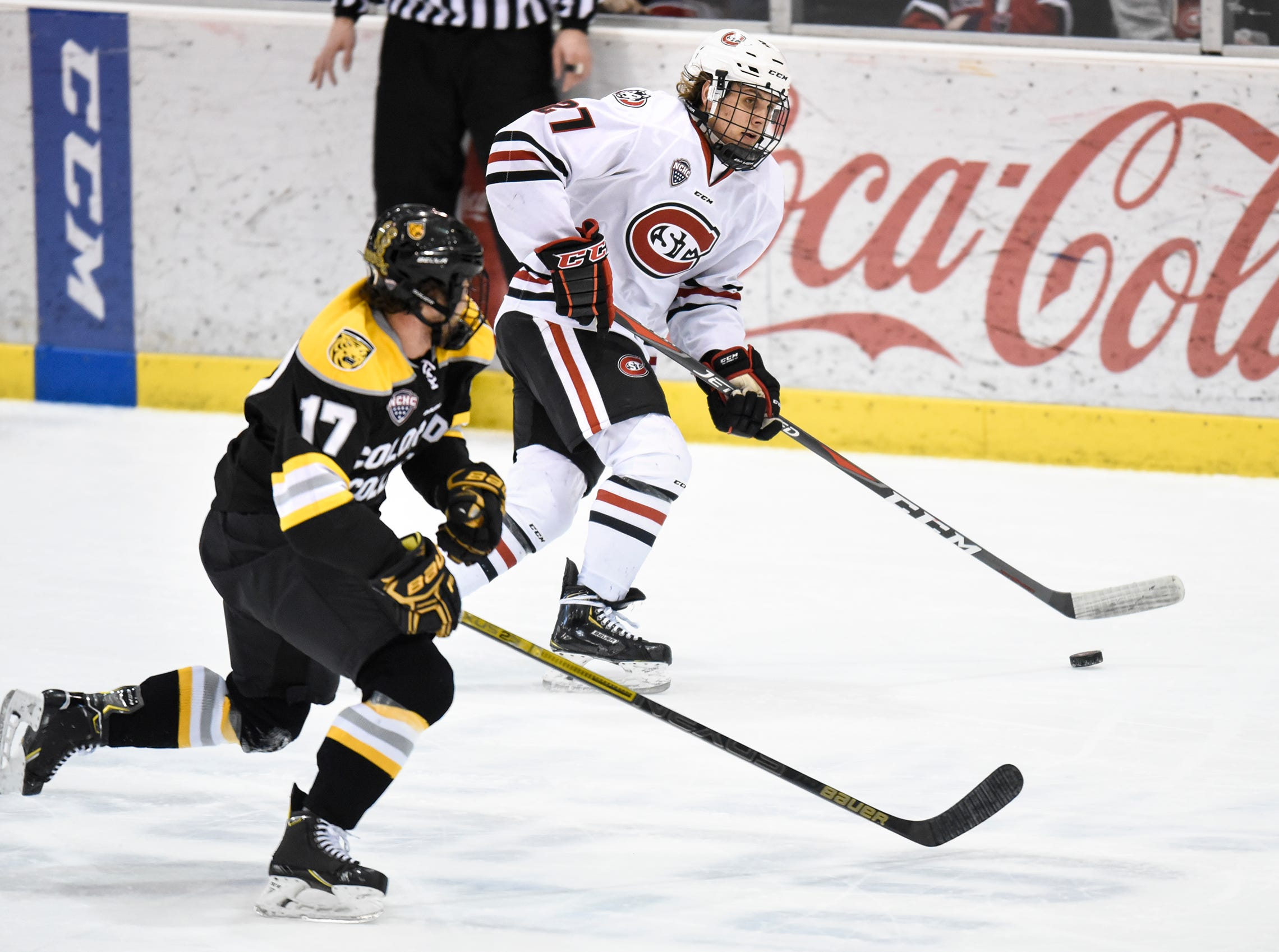 St. Cloud State's Blake Lizotte moves with the puck during the first period of the Friday, Feb. 8, game at the Herb Brooks National Hockey Center in St. Cloud.