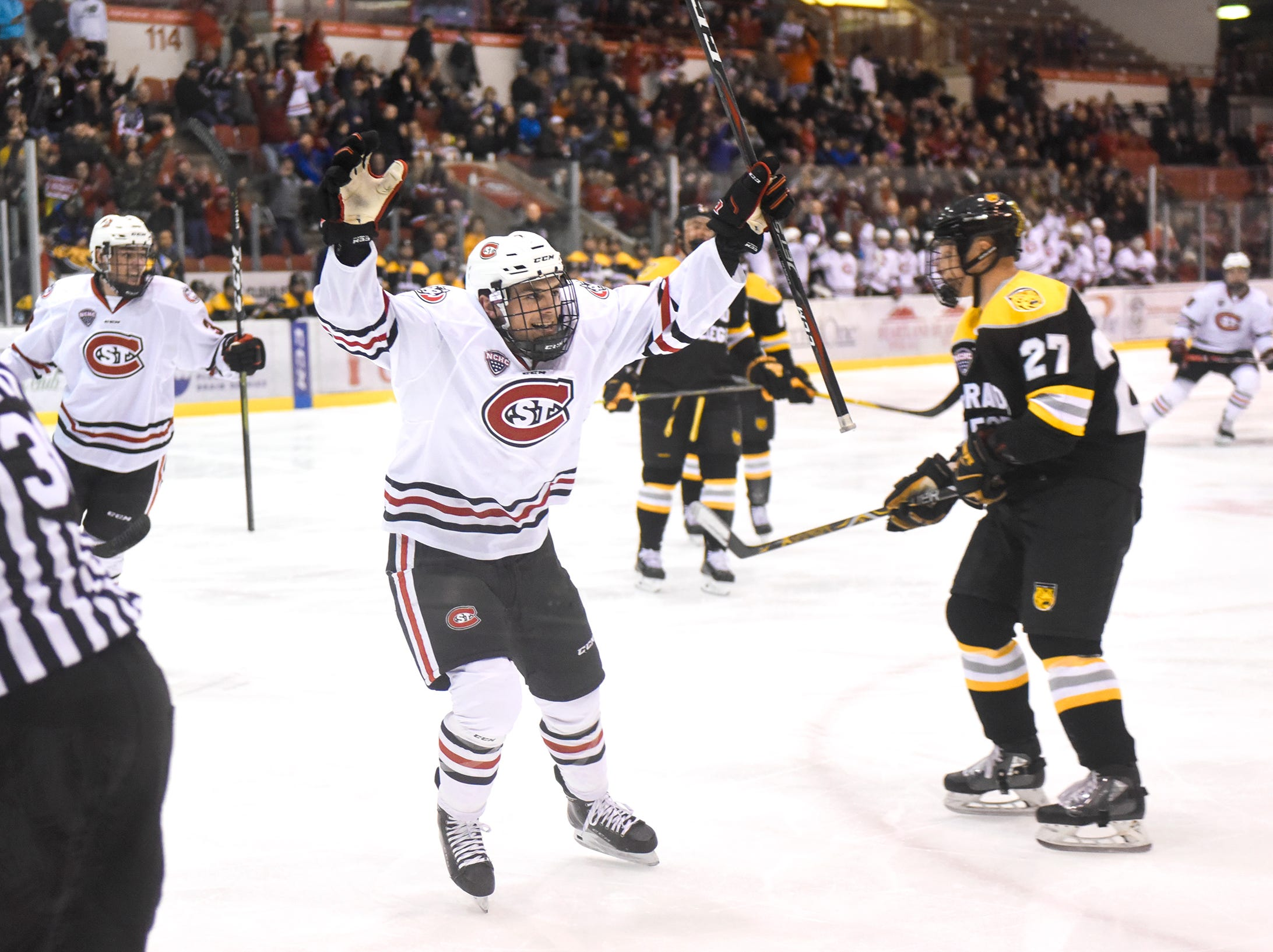 St. Cloud State's Nick Poehling celebrates a goal during the first period of the Friday, Feb. 8, game against Colorado College at the Herb Brooks National Hockey Center in St. Cloud.
