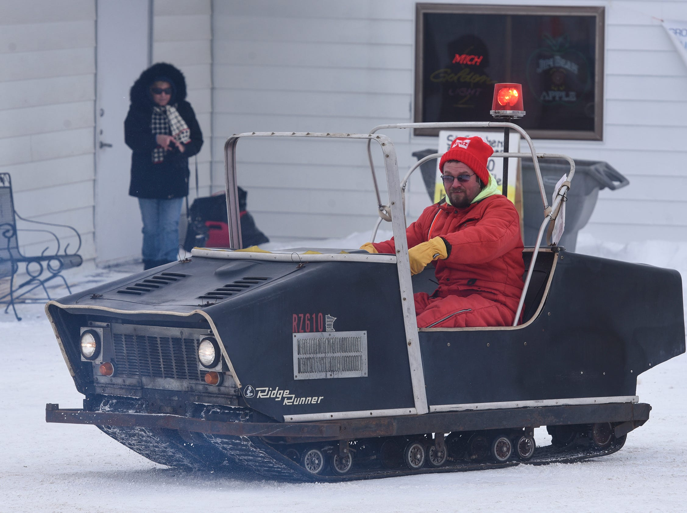 Dale Skroch drives the original snow grooming machine of the St. Stephen River Runners Saturday, Feb. 9, during the club's 50th Anniversary Celebration in St. Stephen.