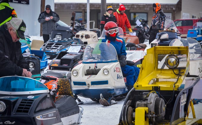 Vintage snowmobiles are on display Saturday, Feb. 9, during the St. Stephen River Runners snowmobile club's 50th Anniversary Celebration in St. Stephen.
