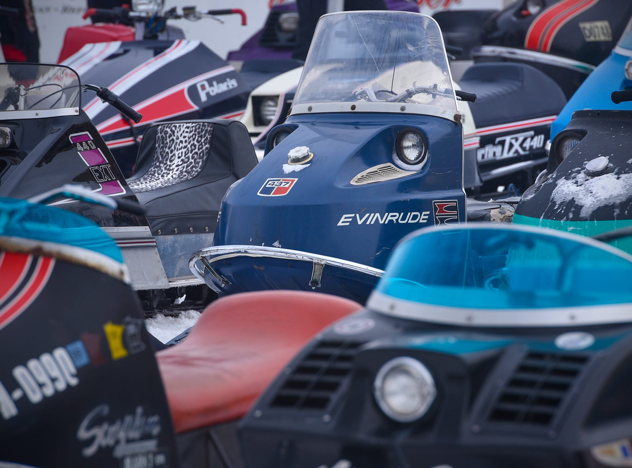 Vintage sleds are all lined up Saturday, Feb. 9, during the St. Stephen River Runners snowmobile club's 50th Anniversary Celebration in St. Stephen.