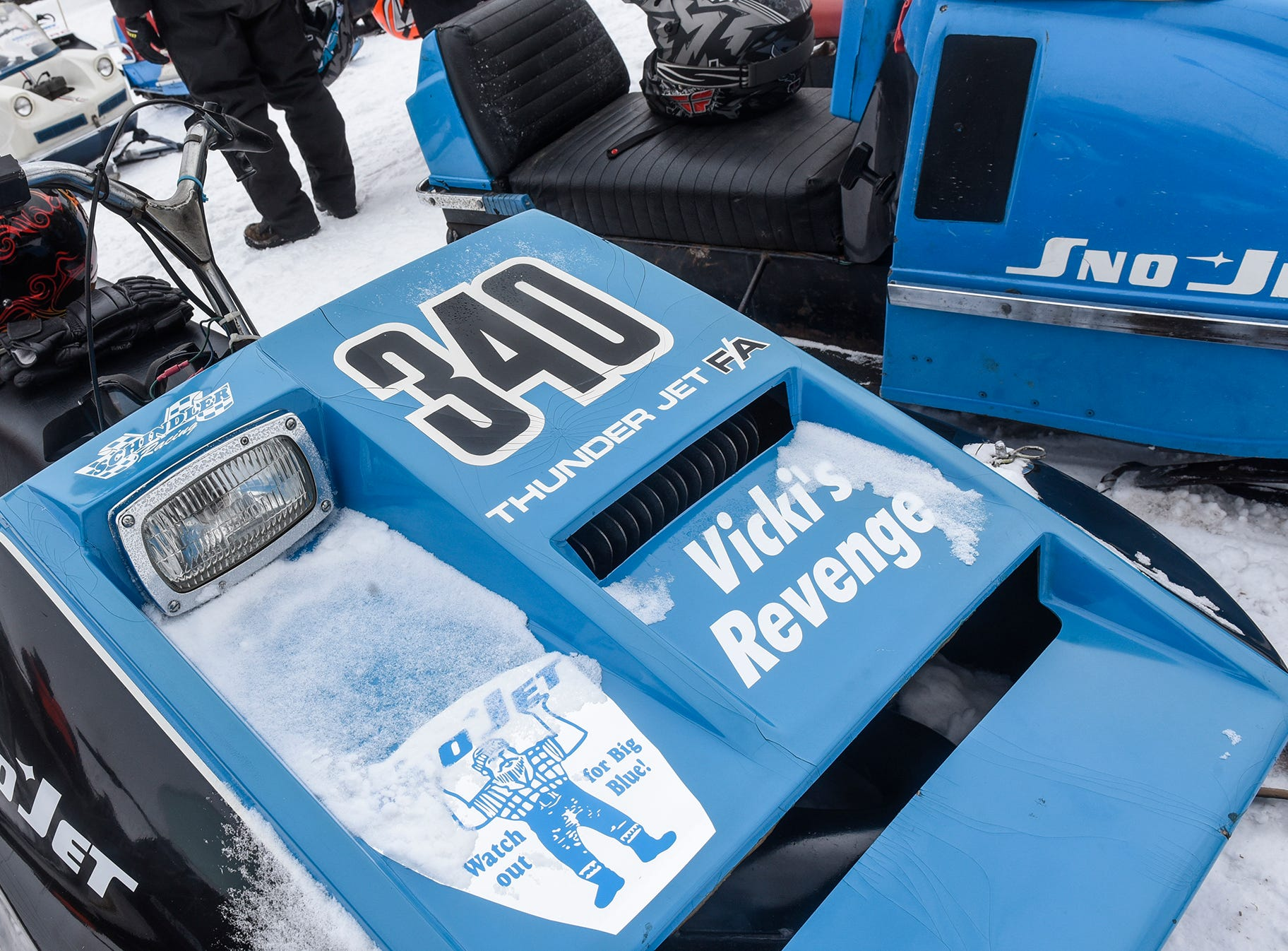 A vintage racing sled is on view Saturday in St. Stephen.