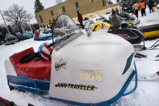 A vintage sled is on display Saturday, Feb. 9, during the St. Stephen River Runners snowmobile club's 50th Anniversary Celebration in St. Stephen.