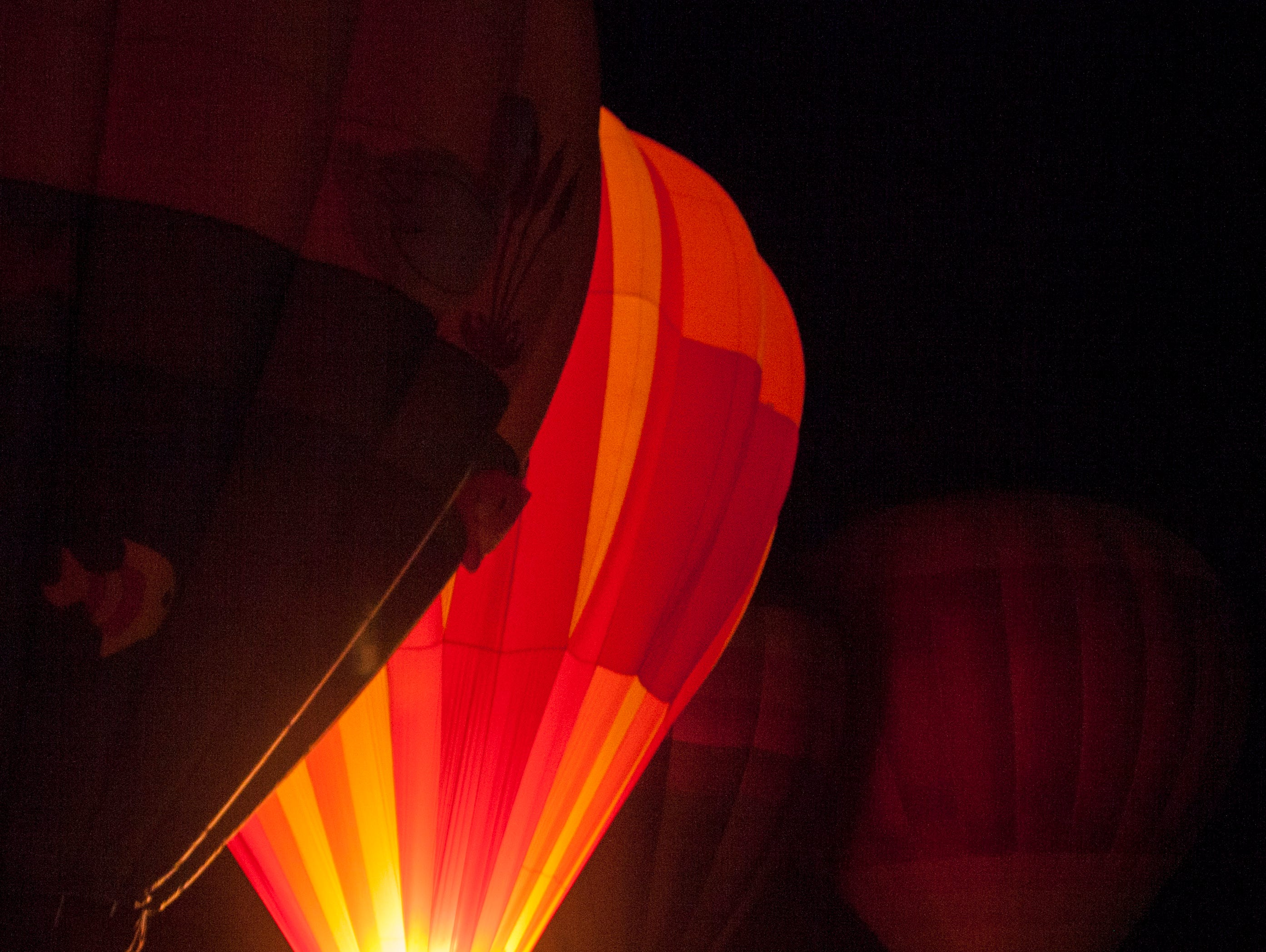 Hot air balloon fans meet the pilots at the Sand Hollow Balloon Festival glow party Friday, Feb. 8, 2019.