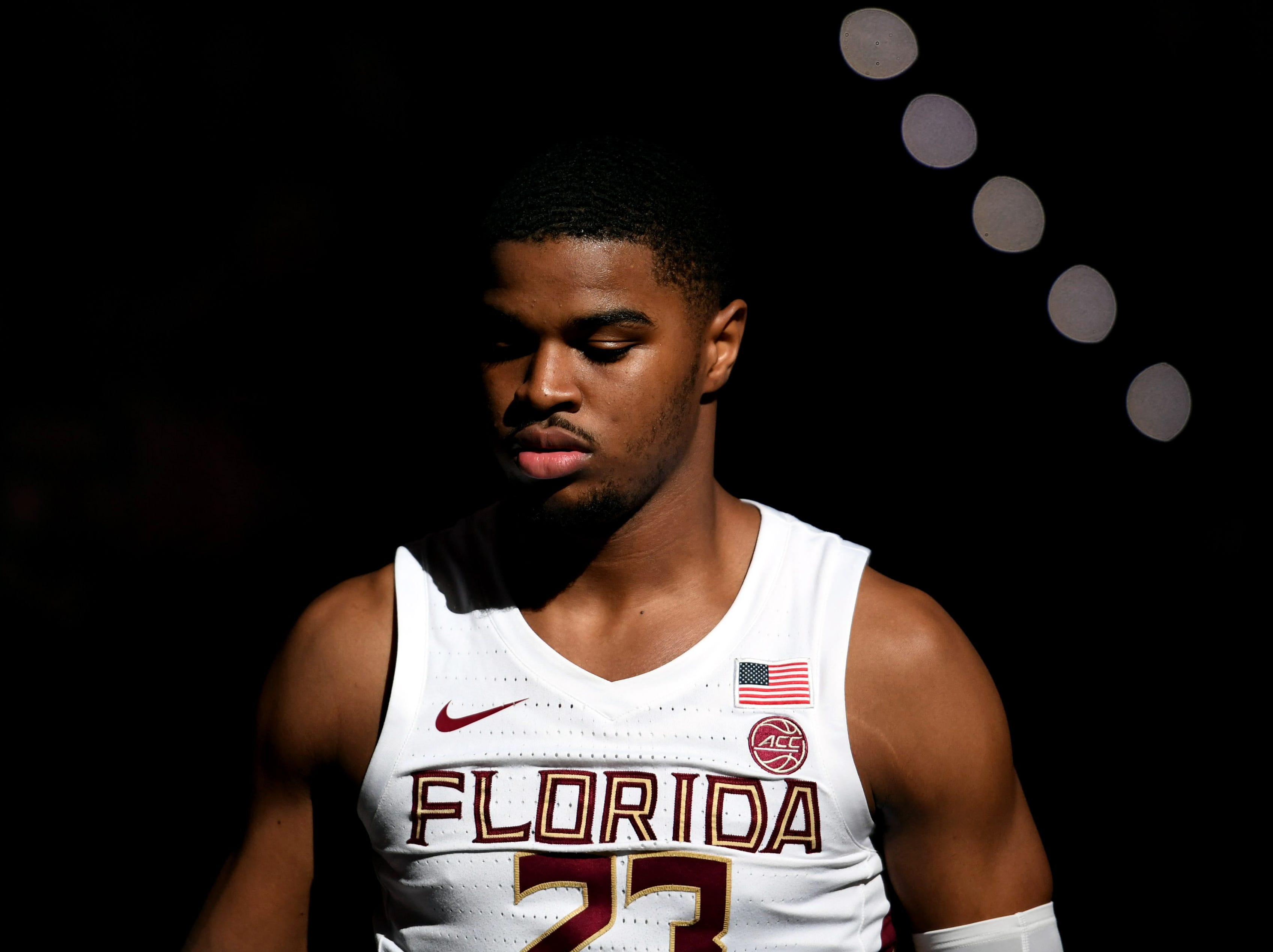 Feb 9, 2019; Tallahassee, FL, USA; Florida State Seminoles guard MJ Walker (23) is introduced before a game against the Louisville Cardinals at Donald L. Tucker Center. Mandatory Credit: Melina Myers-USA TODAY Sports