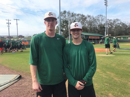 FAMU relief pitcher Dylan Carson (left) and catcher Bret Maxwell were selected as preseason First-Team All-MEAC members. The Rattlers were picked to finish third in the Southern Division.