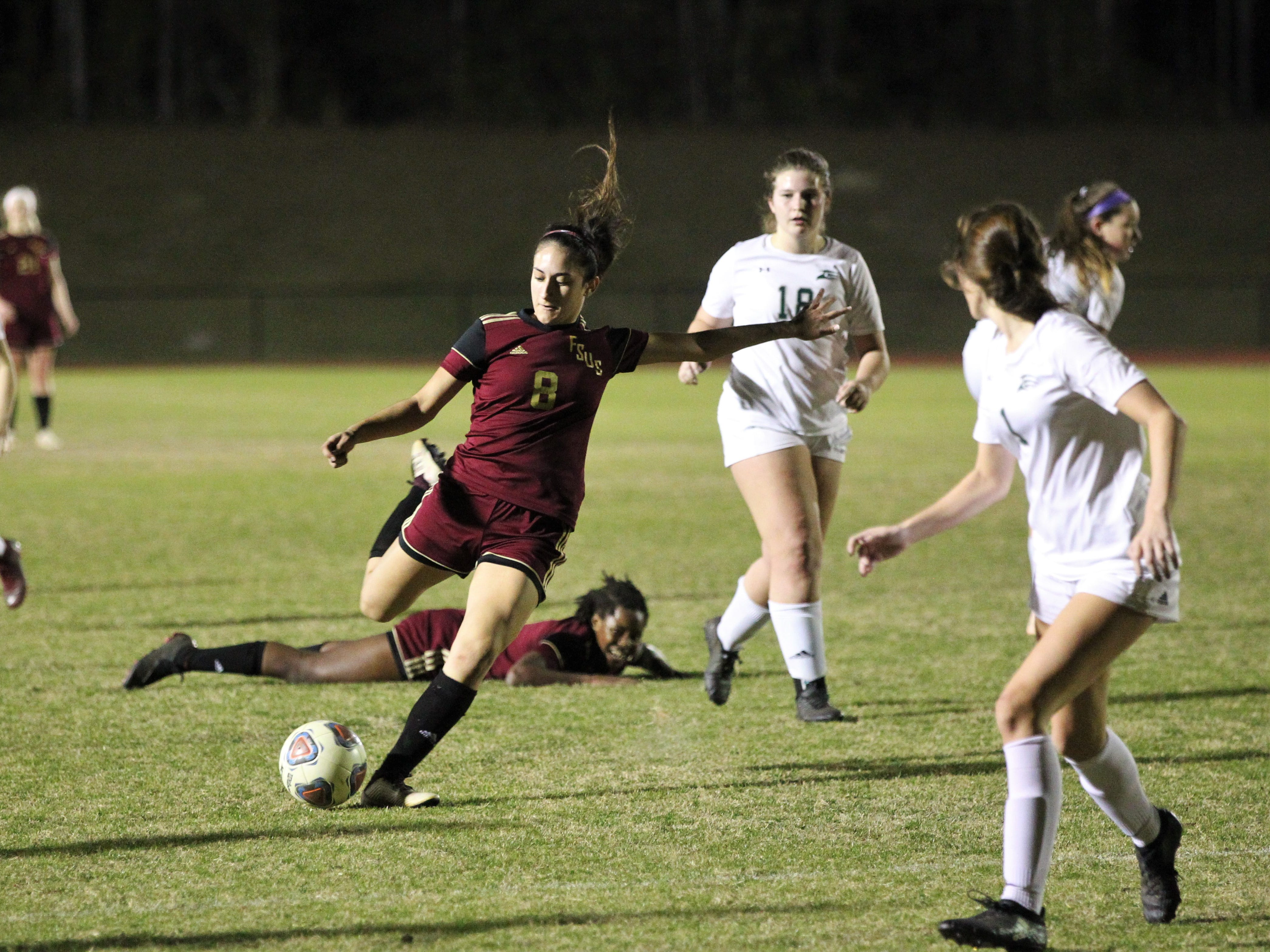 Florida High's Lily Quijada sets up for a shot as South Walton edged the Seminoles 5-4 in a penalty-kick shootout during a Region 1-2A semifinal on Feb. 8, 2019.