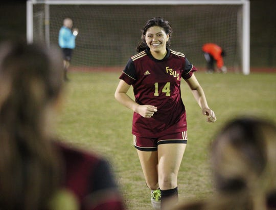 Florida High's Rubi Castro jogs back to her teammates after making a PK as South Walton's girls soccer team edged the Seminoles 5-4 in a penalty-kick shootout during a Region 1-2A semifinal on Feb. 8, 2019.