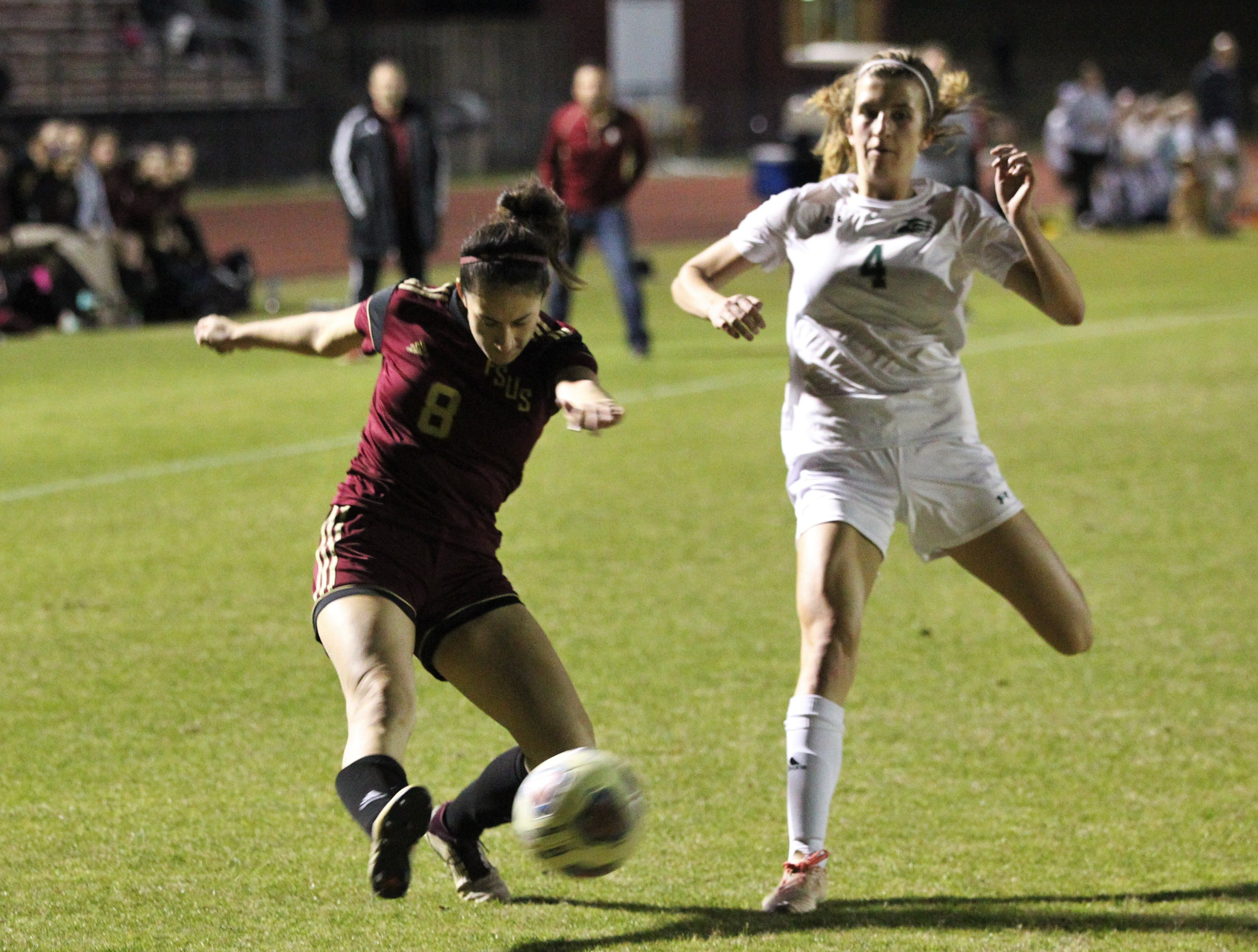 Florida High's Lily Quijada takes a cross as South Walton edged the Seminoles 5-4 in a penalty-kick shootout during a Region 1-2A semifinal on Feb. 8, 2019.