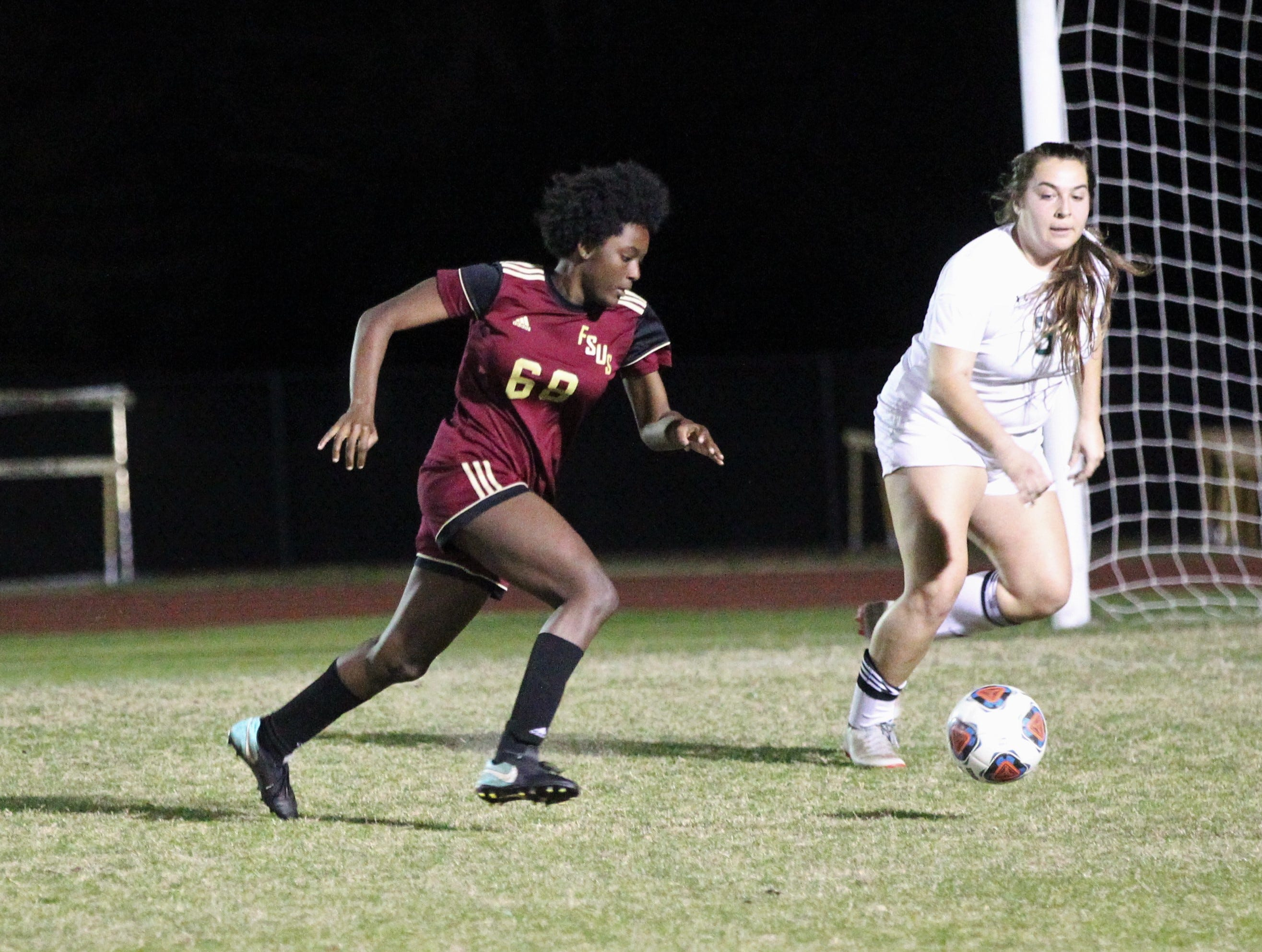 Florida High's Jordyn Still dribbles in the box looking for a shot as South Walton edged the Seminoles 5-4 in a penalty-kick shootout during a Region 1-2A semifinal on Feb. 8, 2019.