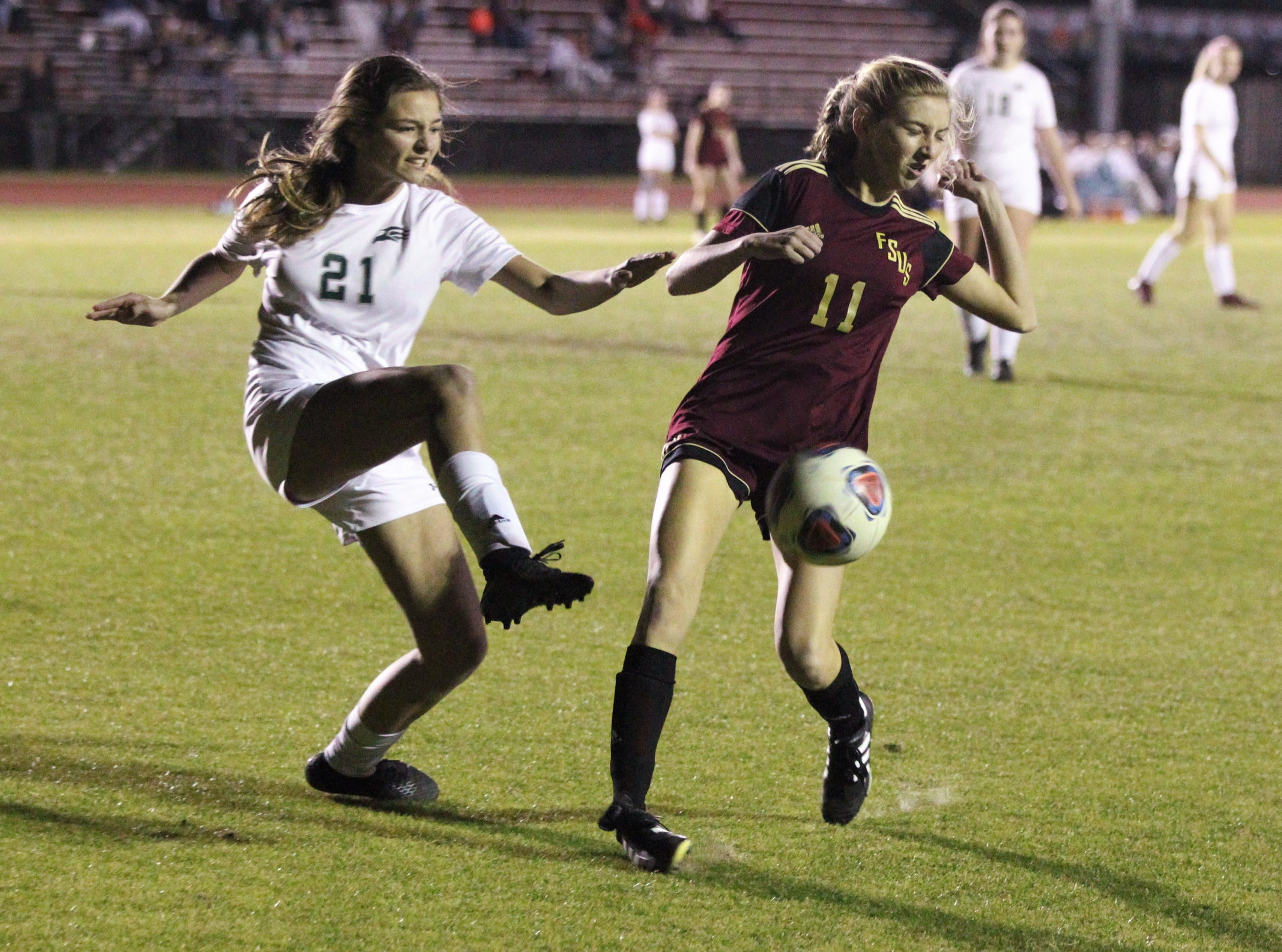 Florida High's Madison Brown watches out for a clearance attempt as South Walton edged the Seminoles 5-4 in a penalty-kick shootout during a Region 1-2A semifinal on Feb. 8, 2019.
