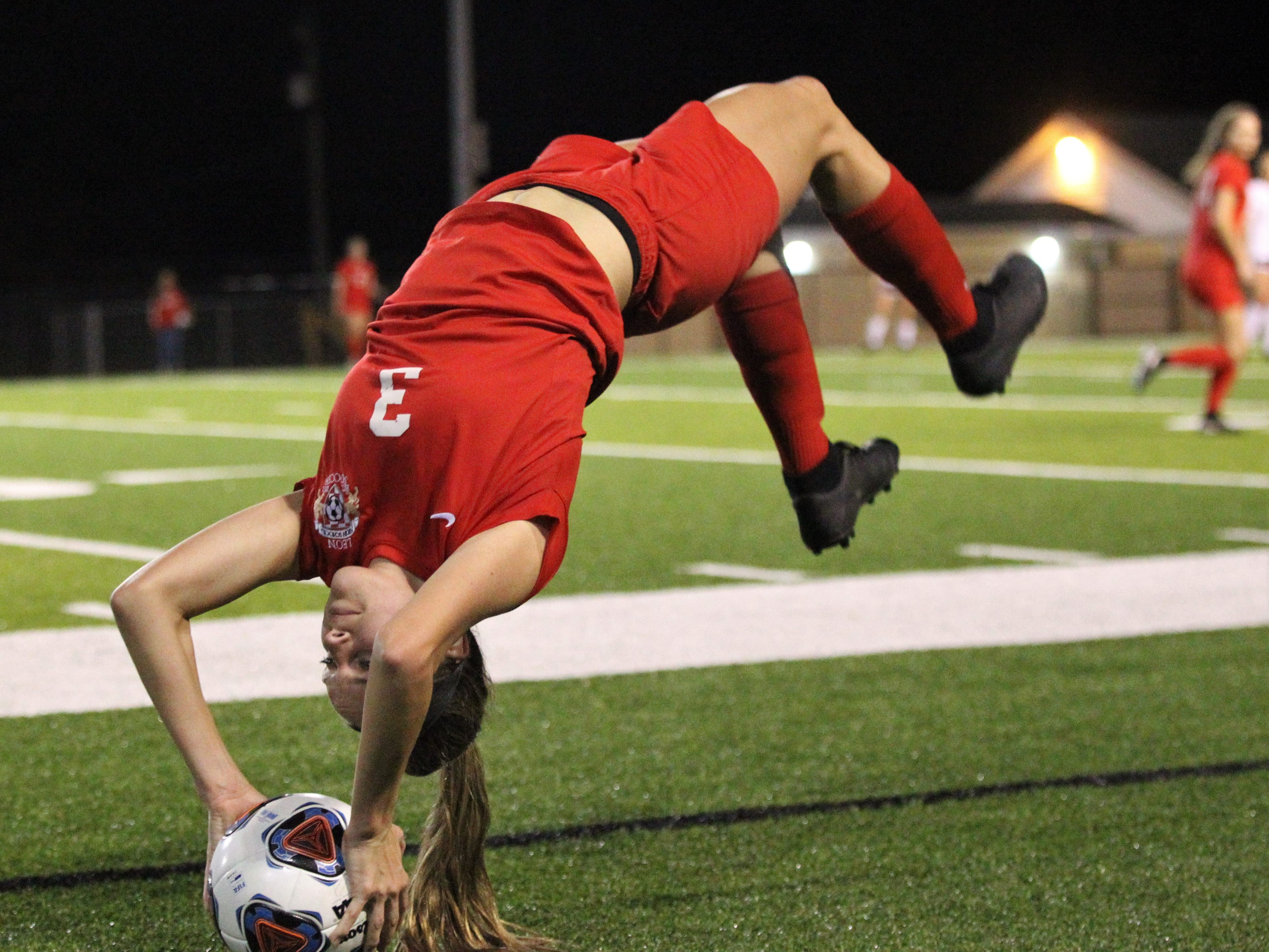 Leon senior Madison Rumenik performs a flip throw-in as Niceville's girls soccer team beat Leon 1-0 in a Region 1-4A semifinal at Gene Cox Stadium on Jan. 8, 2019.