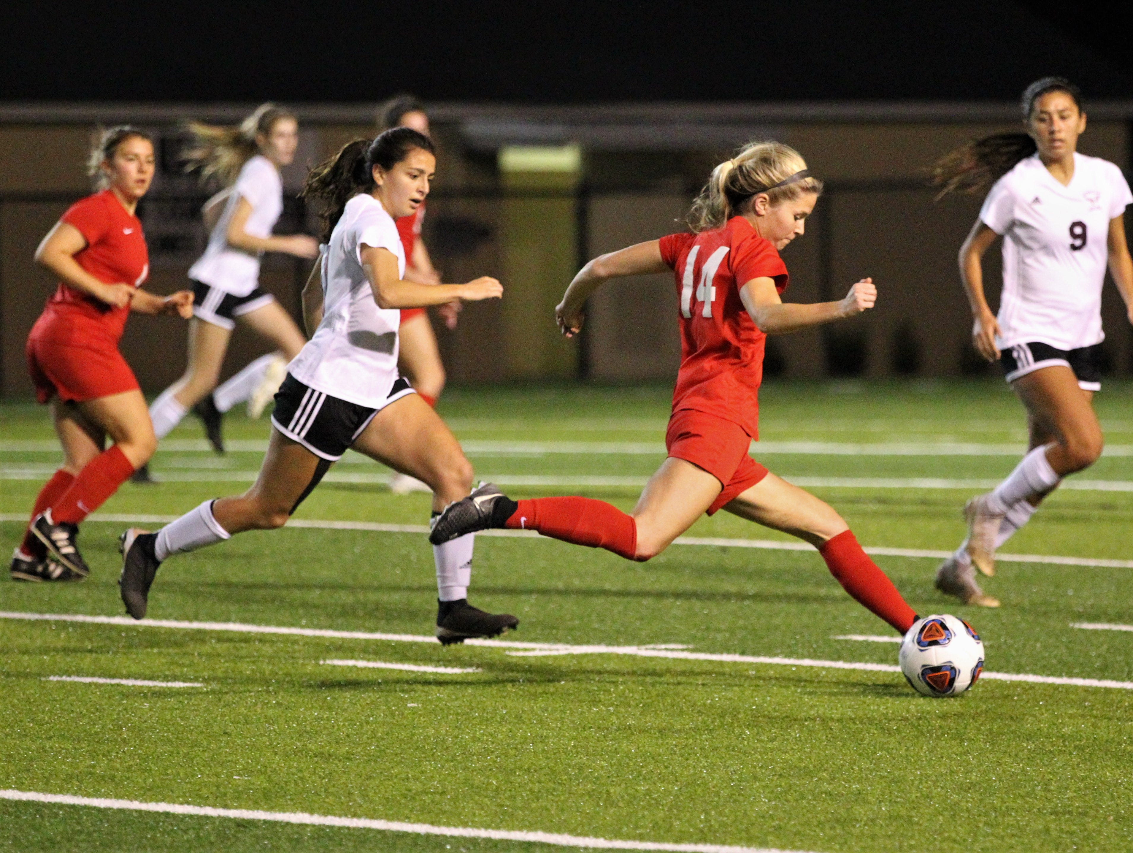 Leon's Emma McGibany takes a shot from distance as Niceville's girls soccer team beat Leon 1-0 in a Region 1-4A semifinal at Gene Cox Stadium on Jan. 8, 2019.