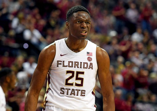 Feb 9, 2019; Tallahassee, FL, USA; Florida State Seminoles forward Mfiondu Kabengele (25) celebrates after a three point basket during the first half against the Louisville Cardinals at Donald L. Tucker Center. Mandatory Credit: Melina Myers-USA TODAY Sports