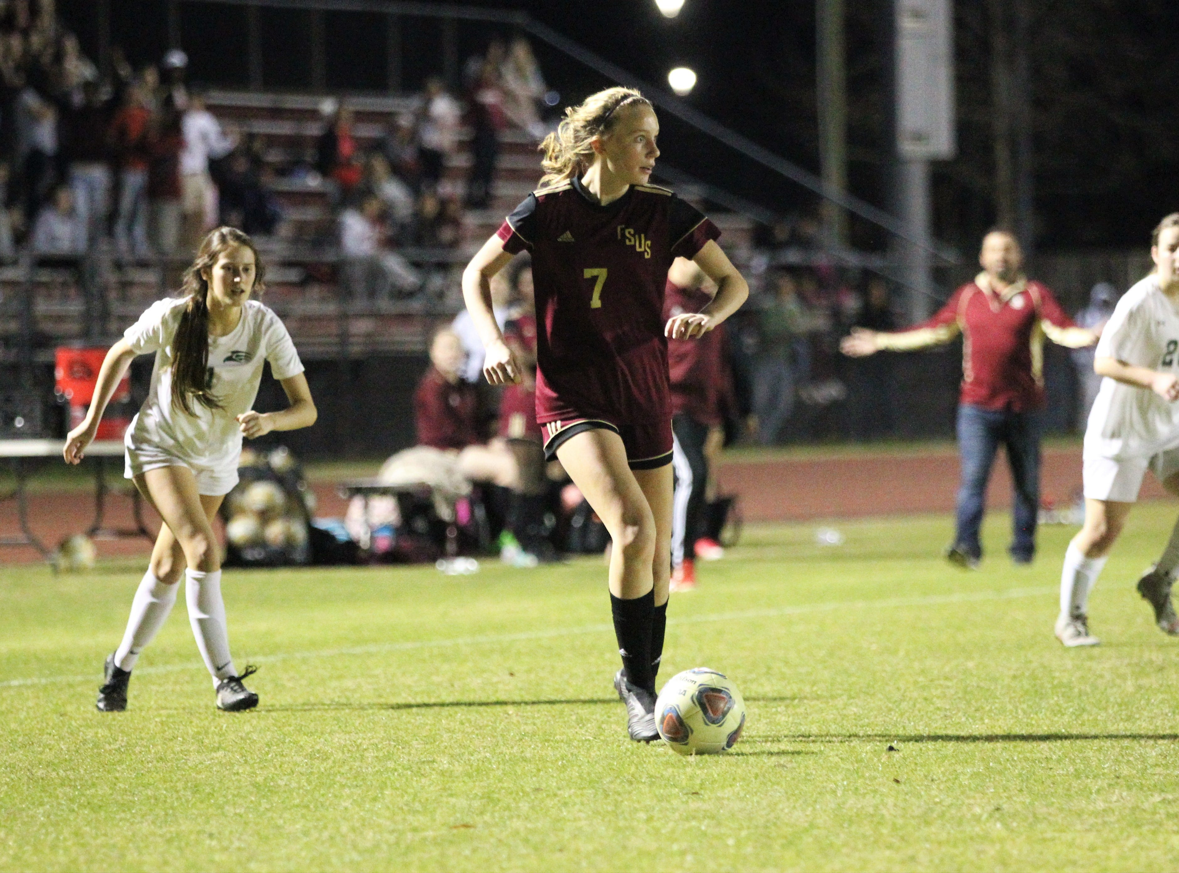 Florida High's Ava Dubois looks for a pass as South Walton's girls soccer team edged the Seminoles 5-4 in a penalty-kick shootout during a Region 1-2A semifinal on Feb. 8, 2019.