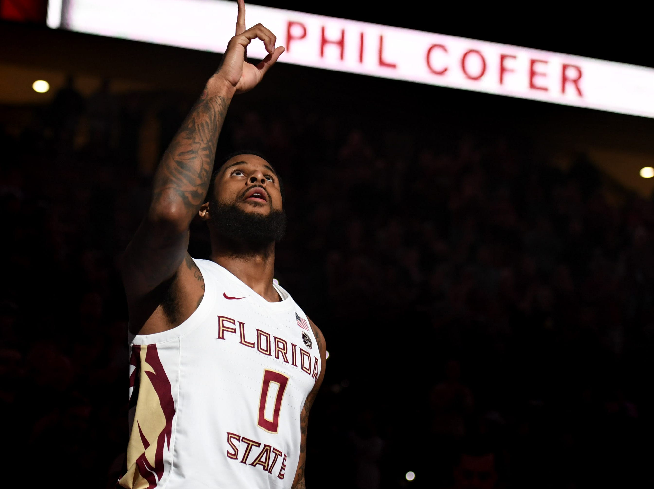 Feb 9, 2019; Tallahassee, FL, USA; Florida State Seminoles forward Phil Cofer (0) is introduced before a game against the Louisville Cardinals at Donald L. Tucker Center. Mandatory Credit: Melina Myers-USA TODAY Sports