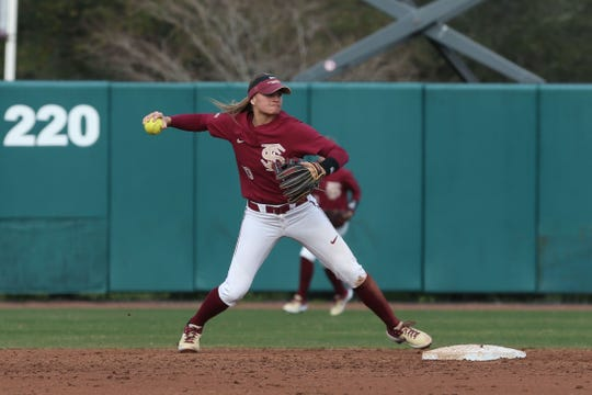 Florida State Seminoles infielder Cali Harrod (10) throws to first as the Florida State Seminoles take on the UNC Wilmington Seahawks in their first game of the season at the Joanne Graf Stadium, Friday Feb. 8, 2019.