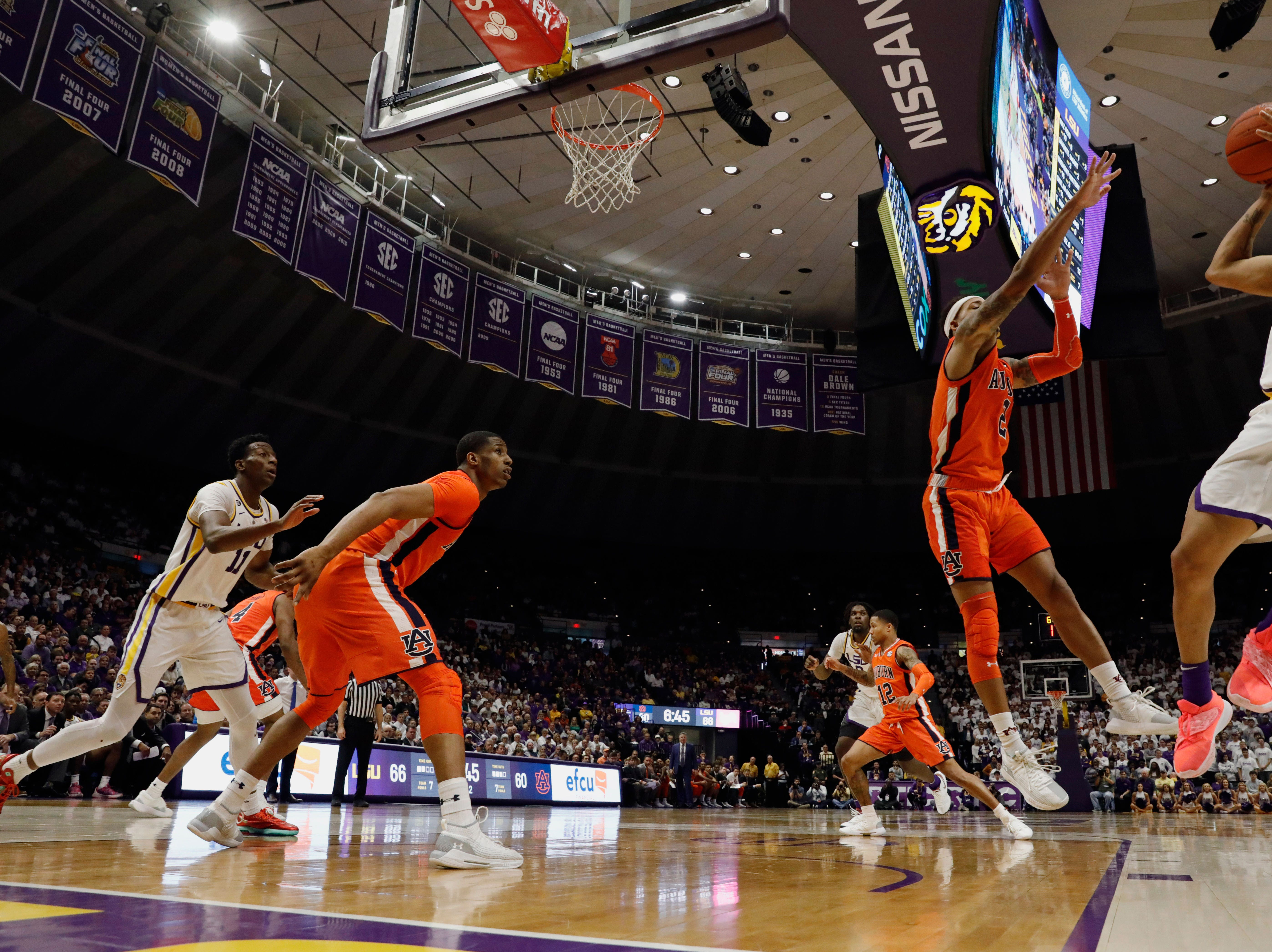 Feb 9, 2019; Baton Rouge, LA, USA; LSU Tigers guard Tremont Waters (3) shoots a jump shot against Auburn Tigers guard Bryce Brown (2) in the second half at Maravich Assembly Center. Mandatory Credit: Stephen Lew-USA TODAY Sports