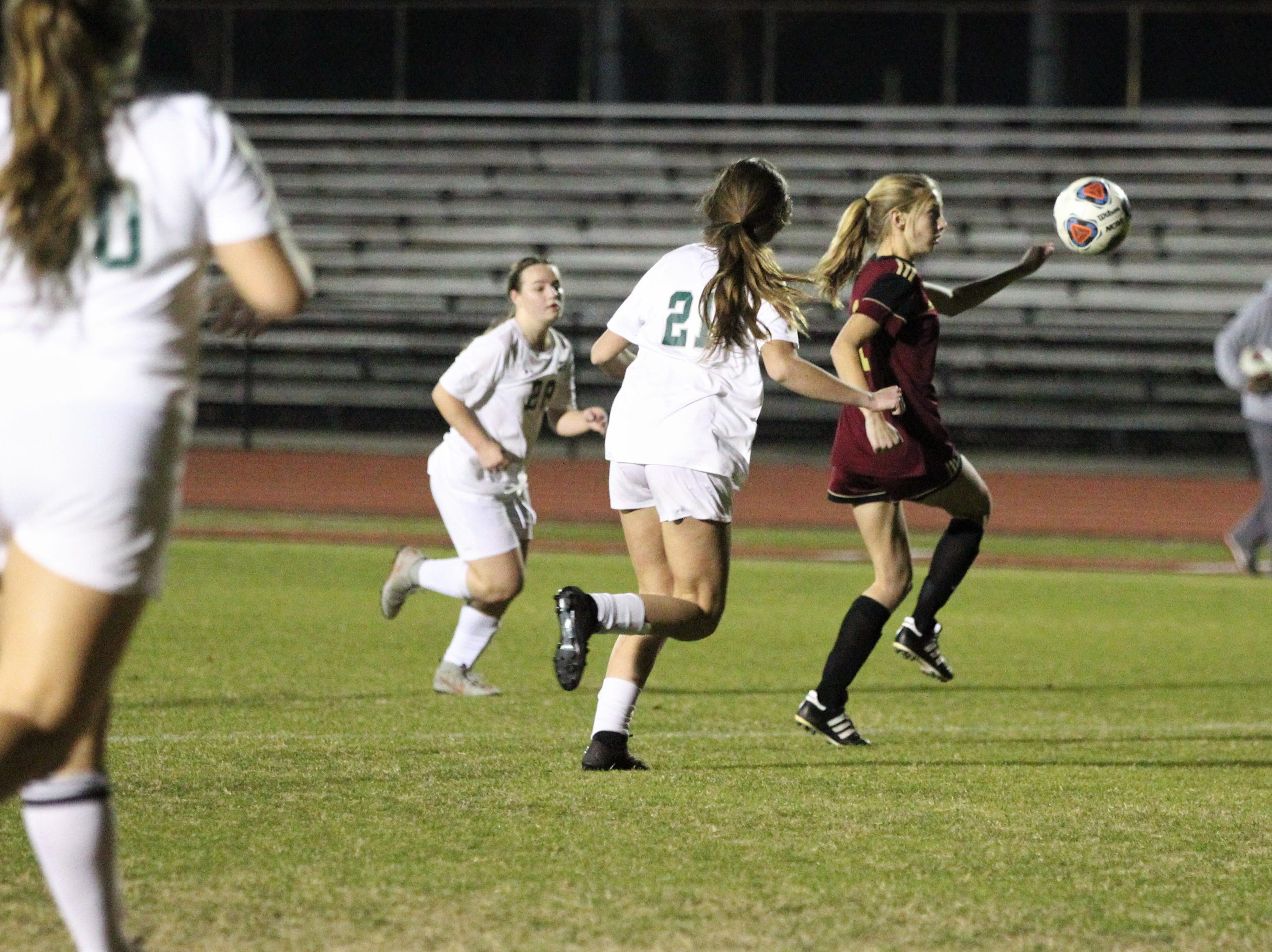 Florida High's Madison Brown tries to chase down a loose ball in the box as South Walton edged the Seminoles 5-4 in a penalty-kick shootout during a Region 1-2A semifinal on Feb. 8, 2019.