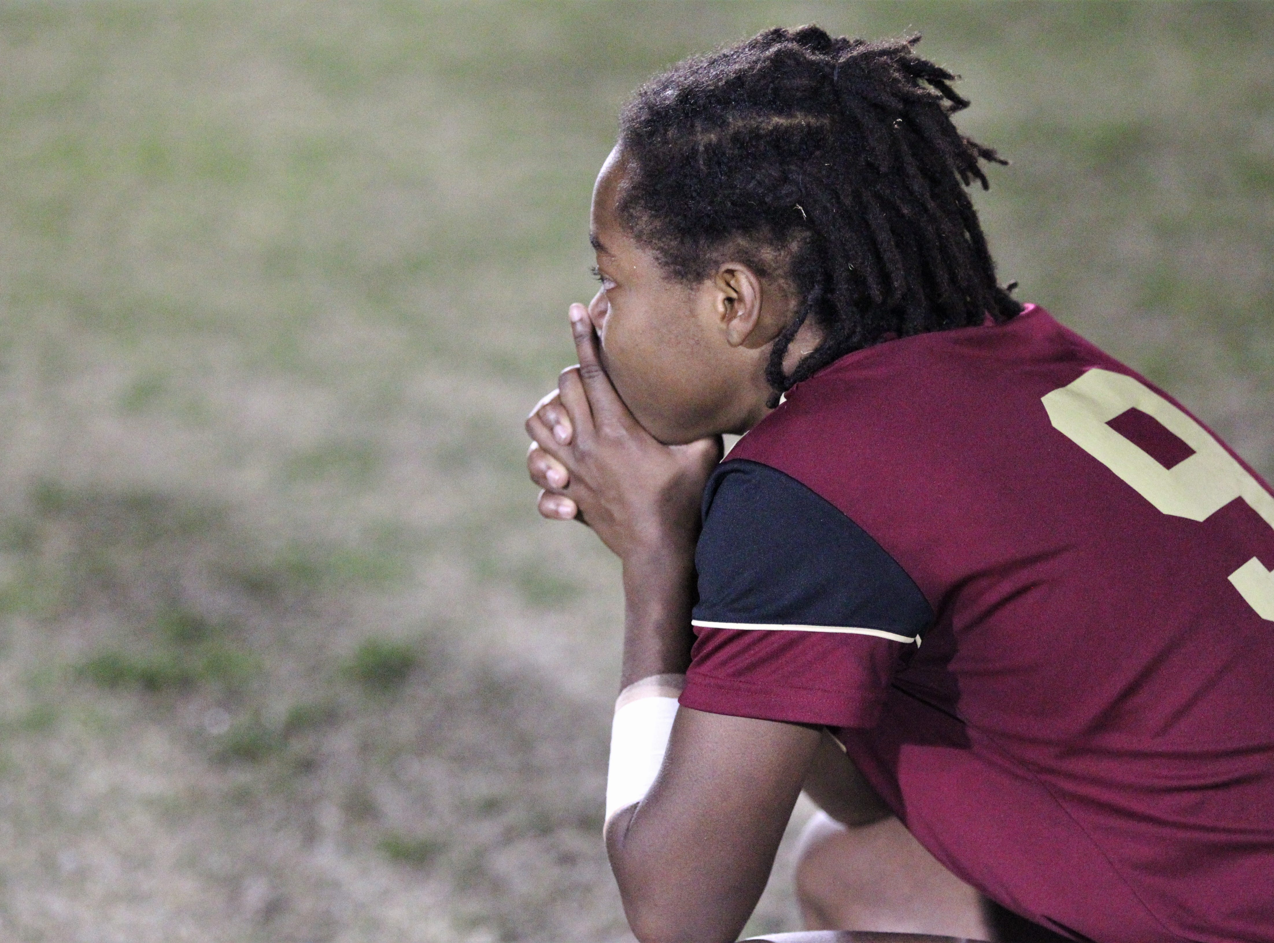 Florida High's Janae Scott watches nervously with her team down in a penalty-kick shootout as South Walton's girls soccer team edged the Seminoles 5-4 in PKs during a Region 1-2A semifinal on Feb. 8, 2019.