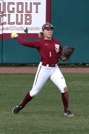 Florida State Seminoles utility player Dani Morgan (1) throws to second base as the Florida State Seminoles take on the UNC Wilmington Seahawks in their first game of the season at the Joanne Graf Stadium, Friday Feb. 8, 2019.