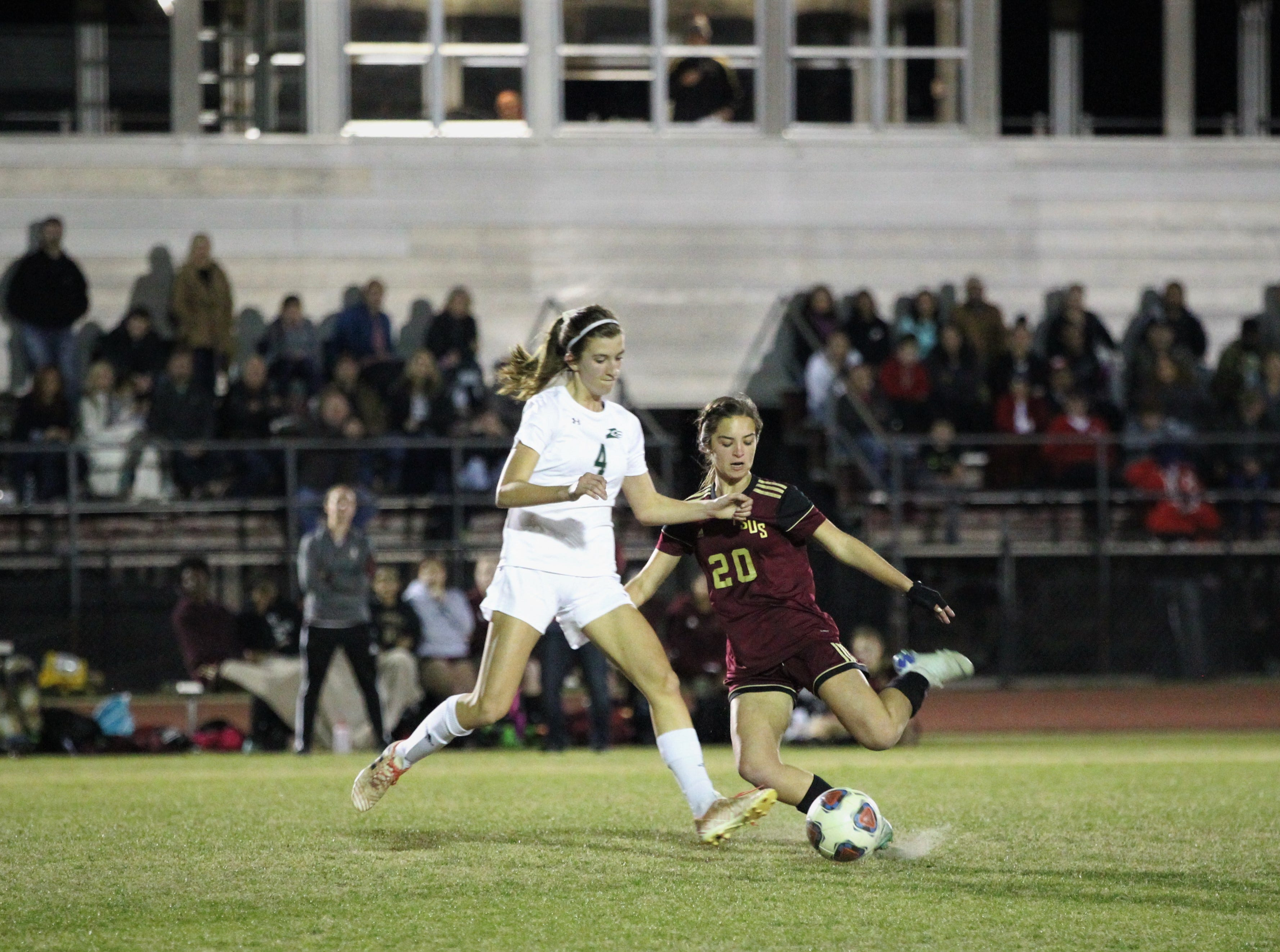 Florida High's Caroline Hamon sets up for a pass as South Walton edged the Seminoles 5-4 in a penalty-kick shootout during a Region 1-2A semifinal on Feb. 8, 2019.