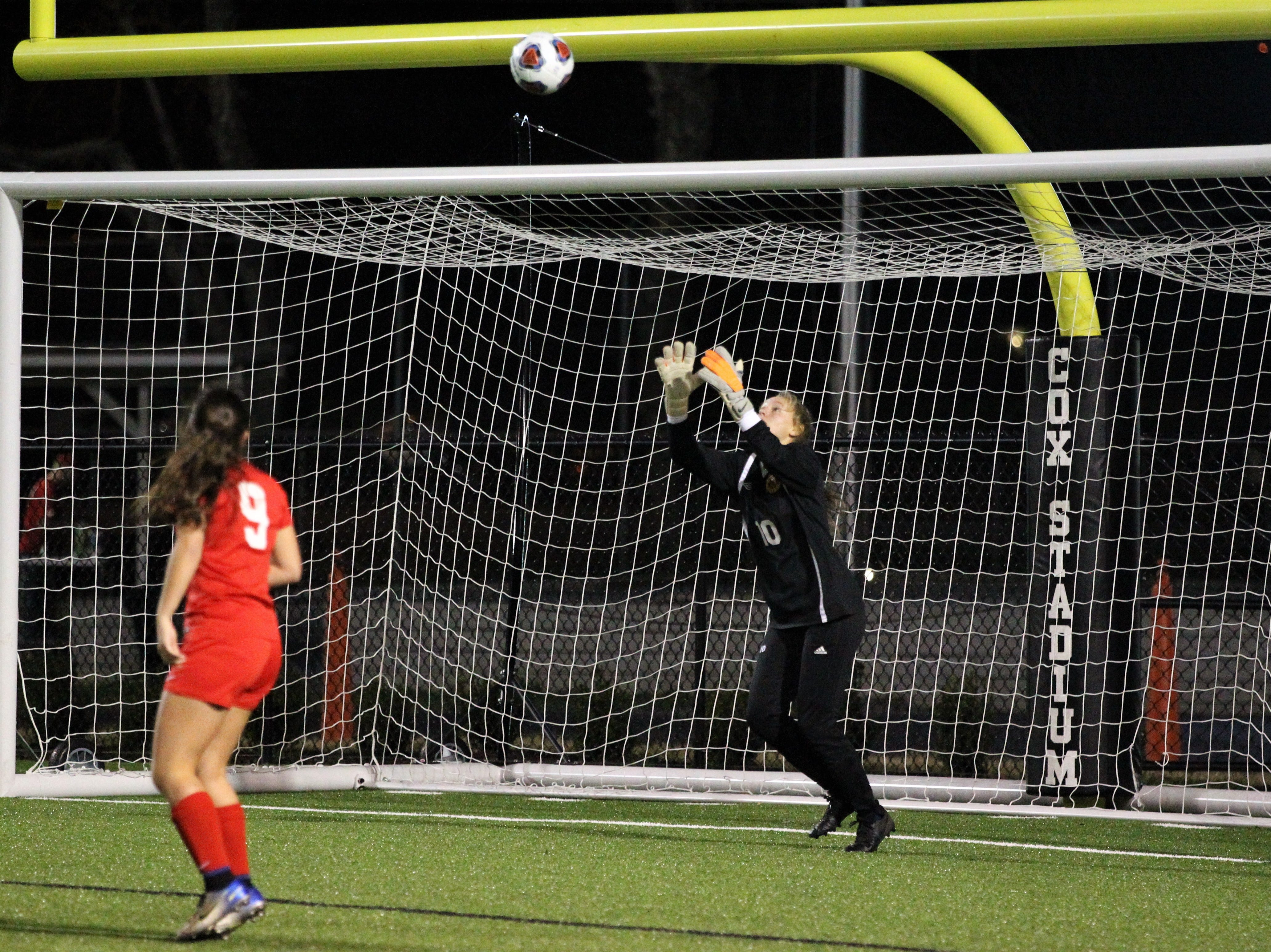 Leon keeper Regan Hermeling waits to save a long shot as Niceville's girls soccer team beat Leon 1-0 in a Region 1-4A semifinal at Gene Cox Stadium on Jan. 8, 2019.