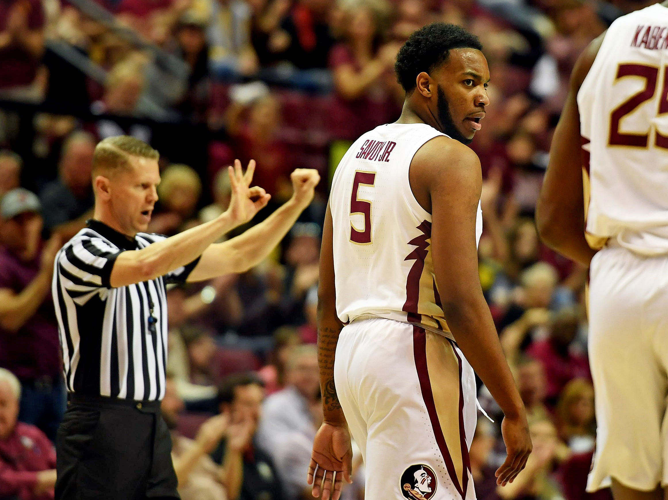 Feb 9, 2019; Tallahassee, FL, USA; Florida State Seminoles guard PJ Savoy (5) reacts after a foul against the Louisville Cardinals during the first half at Donald L. Tucker Center. Mandatory Credit: Melina Myers-USA TODAY Sports