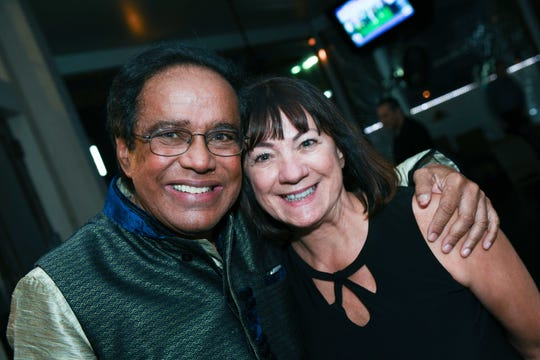 """Dr. Shamsher Singh and Jeannette Weiss at Port St. Lucie Sunset Rotary Club's """"Beast and Bourbon Dinner"""" on Jan.24."""