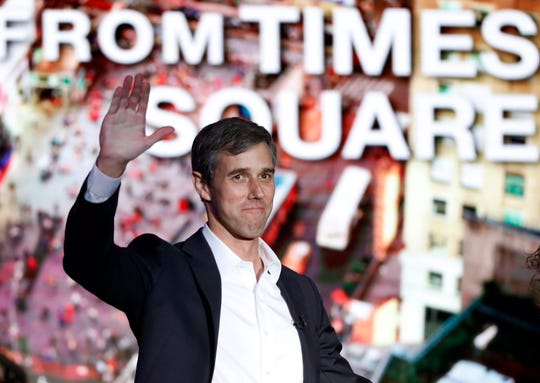 """Former U.S. Rep. Beto O'Rourke, D-El Paso, waves to the audience as he is introduced prior to an interview with Oprah Winfrey live on a Times Square stage at """"SuperSoul Conversations"""" on Tuesday, Feb. 5, 2019, in New York. O'Rourke dazzled Democrats in 2018 by nearly defeating Republican U.S. Sen. Ted Cruz in the country's largest red state."""