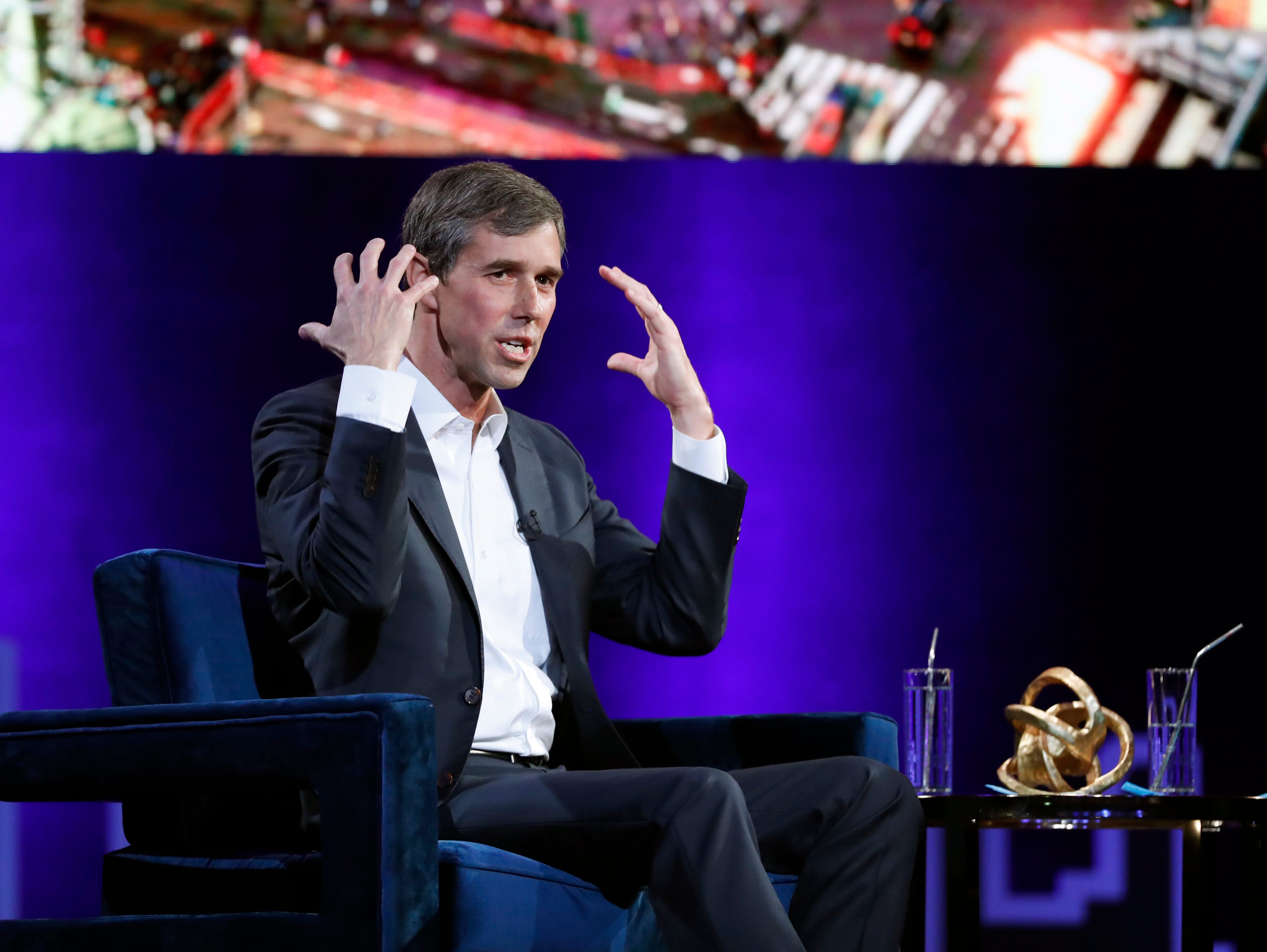 "Former U.S. Rep. Beto O'Rourke, D-El Paso, gestures during an interview with Oprah Winfrey for ""Oprah's SuperSoul Conversations from Times Square"" on Tuesday, Feb. 5, 2019, in New York."