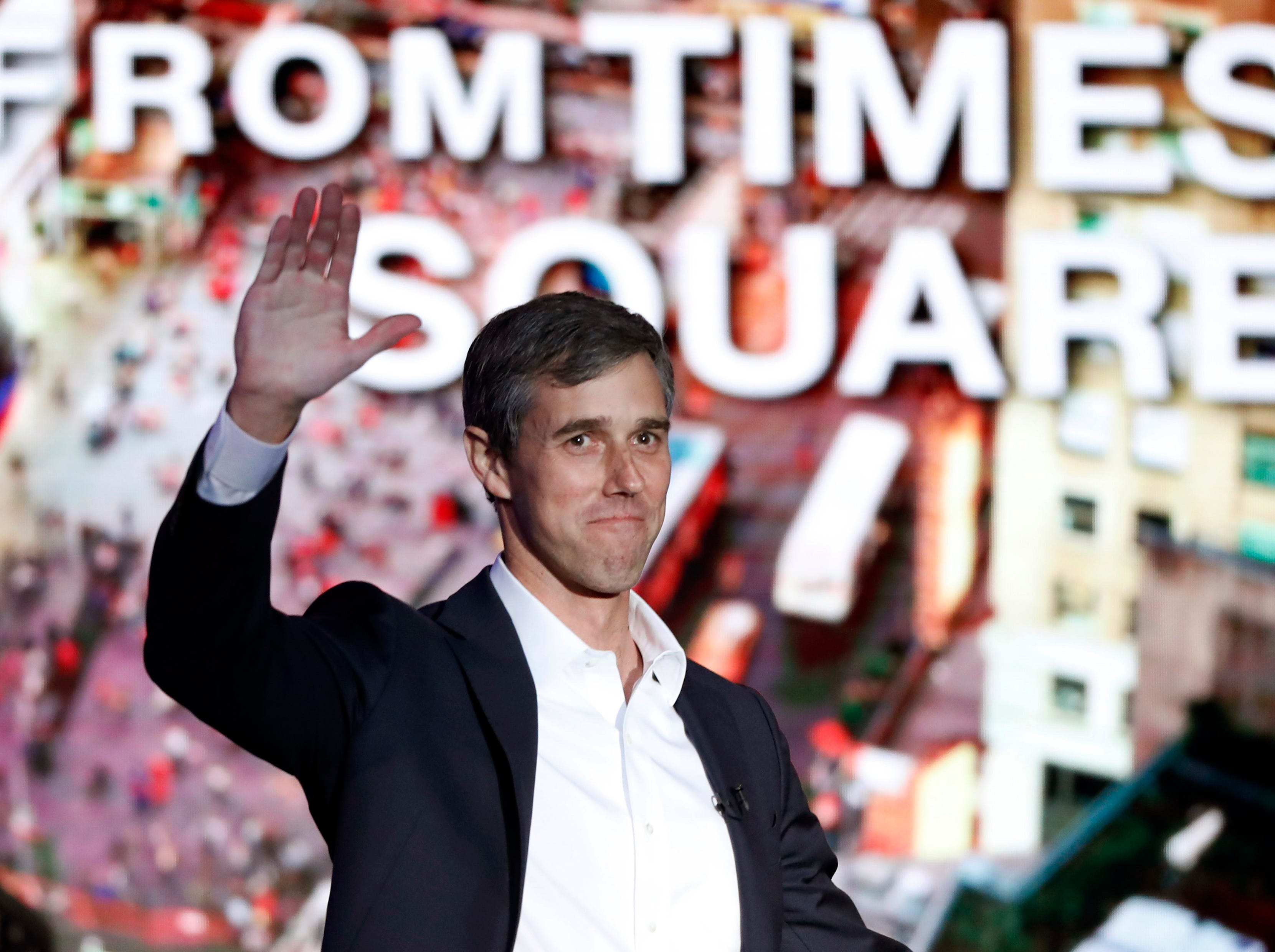 "Former U.S. Rep. Beto O'Rourke, D-El Paso, waves to the audience as he is introduced prior to an interview with Oprah Winfrey live on a Times Square stage at ""SuperSoul Conversations"" on Tuesday, Feb. 5, 2019, in New York."