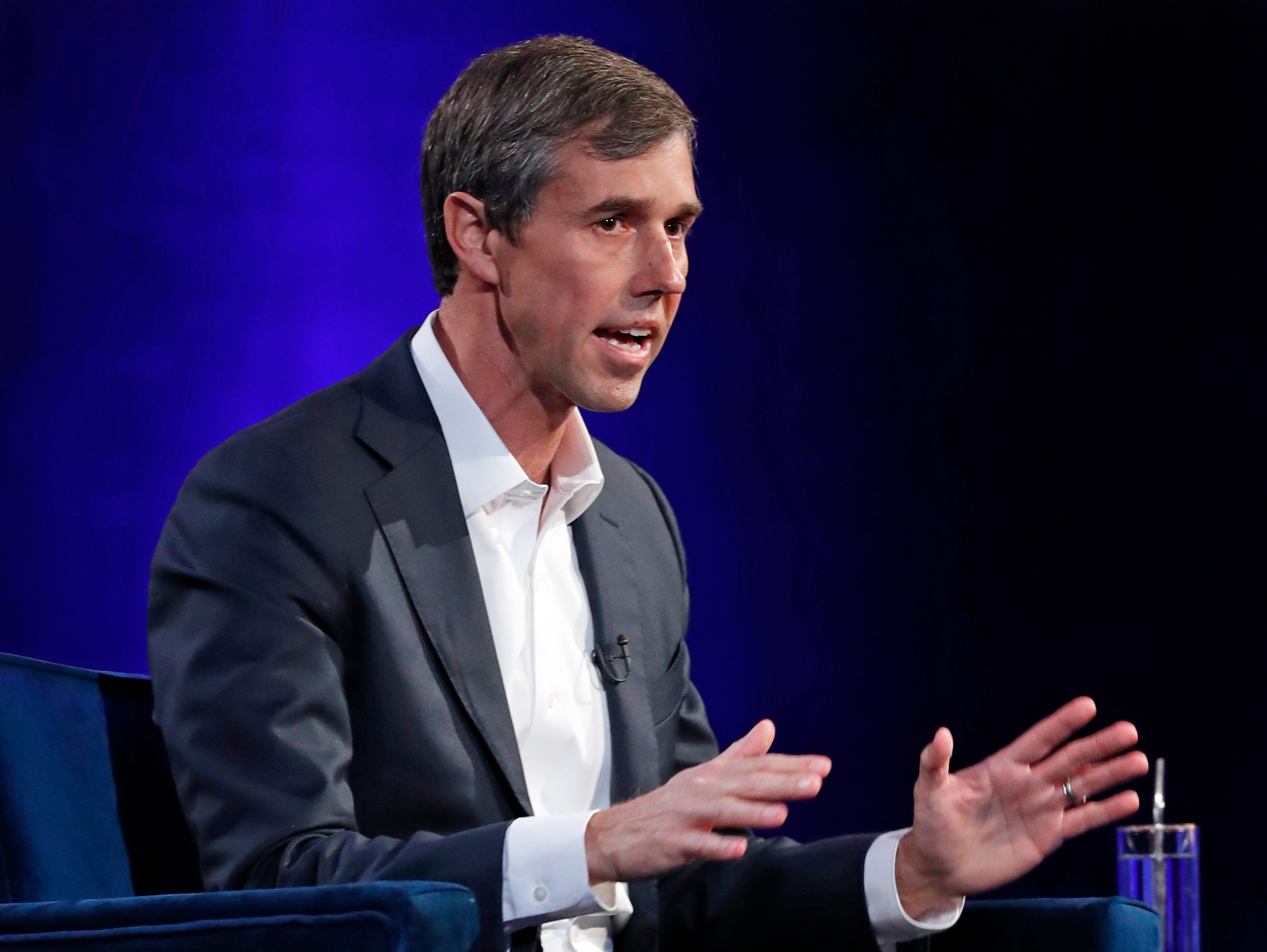 "Former U.S. Rep. Beto O'Rourke, D-El Paso, gestures during an interview with Oprah Winfrey live on a Times Square stage at ""Oprah's SuperSoul Conversations from Times Square"" on Tuesday, Feb. 5, 2019, in New York. O'Rourke dazzled Democrats in 2018 by nearly defeating Republican U.S. Sen. Ted Cruz in the country's largest red state."