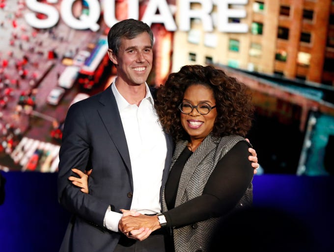 "Former U.S. Rep. Beto O'Rourke, D-El Paso, stands with Oprah Winfrey after appearing on ""Oprah's SuperSoul Conversations from Times Square"" on Tuesday, Feb. 5, 2019, in New York."