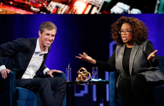 "Former U.S. Rep. Beto O'Rourke, D-El Paso, appears with Oprah Winfrey for ""Oprah's SuperSoul Conversations from Times Square"" on Tuesday, Feb. 5, 2019, in New York. The lineup also featured actors Bradley Cooper and Michael B. Jordan and philanthropist Melinda Gates, underscoring the sense of celebrity that surrounds O'Rourke."