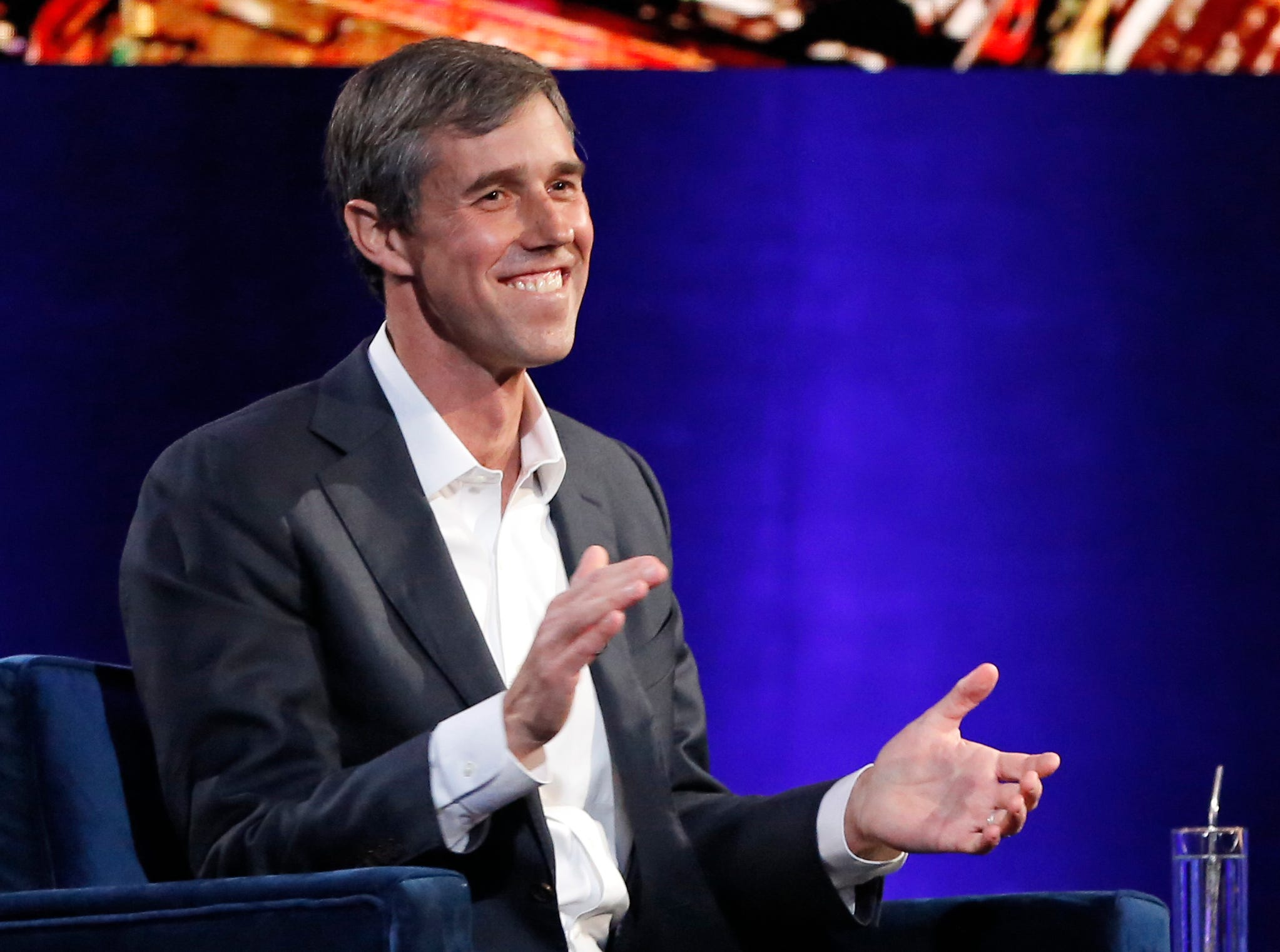 "Former U.S. Rep. Beto O'Rourke, D-El Paso, laughs as Oprah Winfrey presses him to make the announcement that he is running for president during a live interview on a Times Square stage at ""Oprah's SuperSoul Conversations from Times Square"" on Tuesday, Feb. 5, 2019, in New York. O'Rourke dazzled Democrats in 2018 by nearly defeating Republican U.S. Sen. Ted Cruz in the country's largest red state. O'Rourke says he'll announce whether he'll run for president ""before the end of the month."""