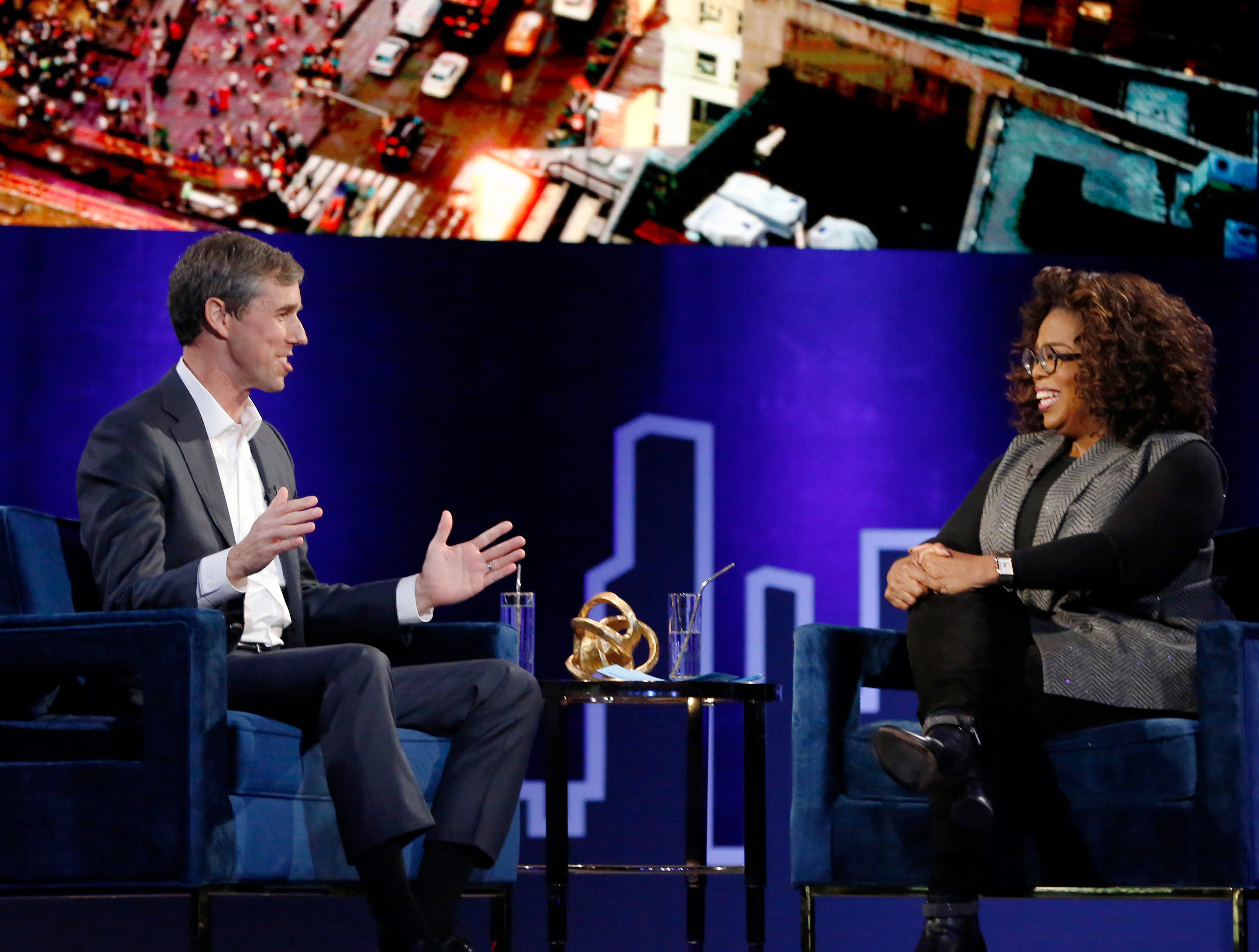 "Former U.S. Rep. Beto O'Rourke, D-El Paso, appears with Oprah Winfrey for ""Oprah's SuperSoul Conversations from Times Square"" on Tuesday, Feb. 5, 2019, in New York."