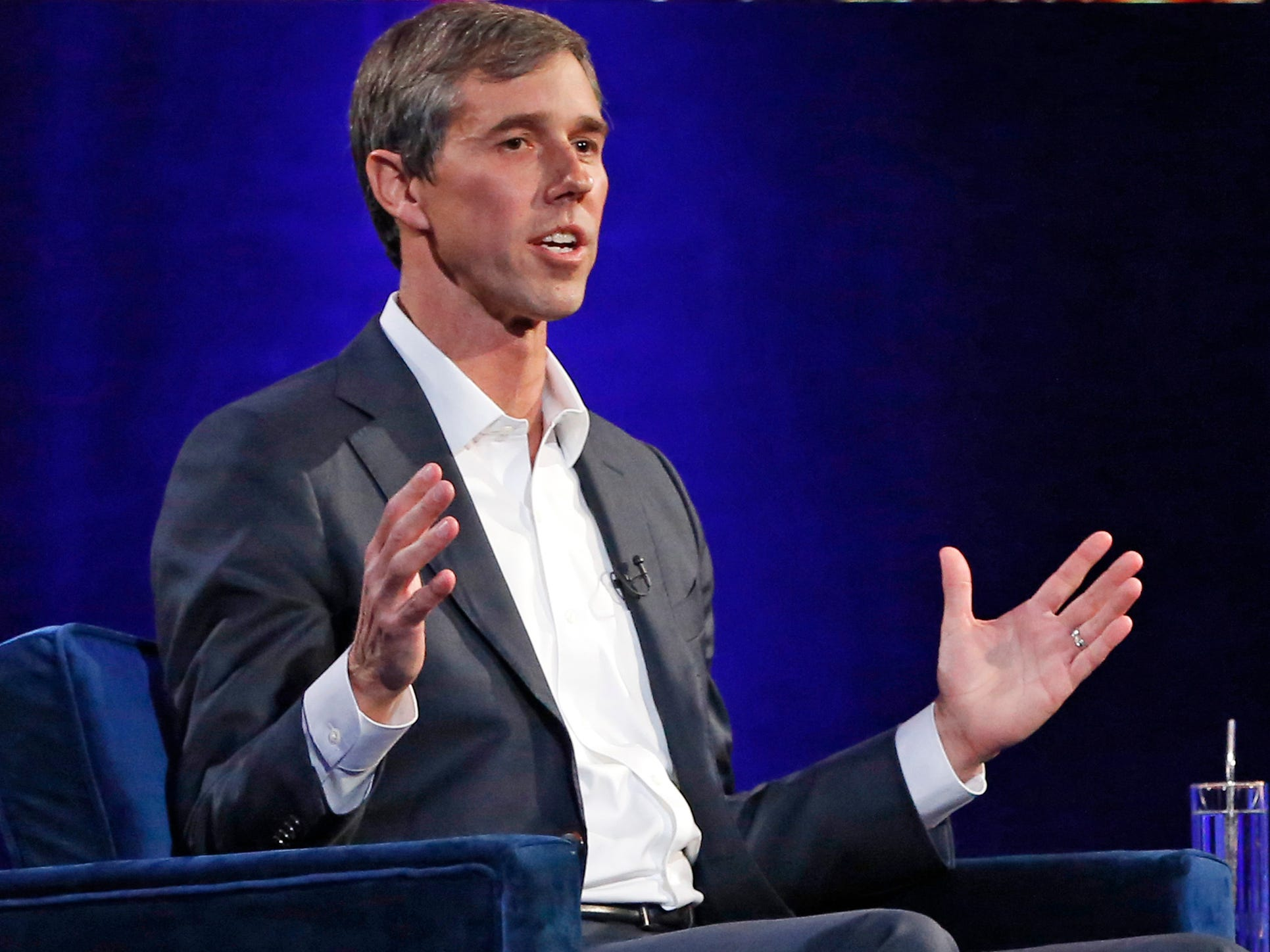 "Former U.S. Rep. Beto O'Rourke, D-El Paso, gestures during a live interview with Oprah Winfrey on a Times Square stage at ""Oprah's SuperSoul Conversations from Times Square"" on Tuesday, Feb. 5, 2019, in New York."