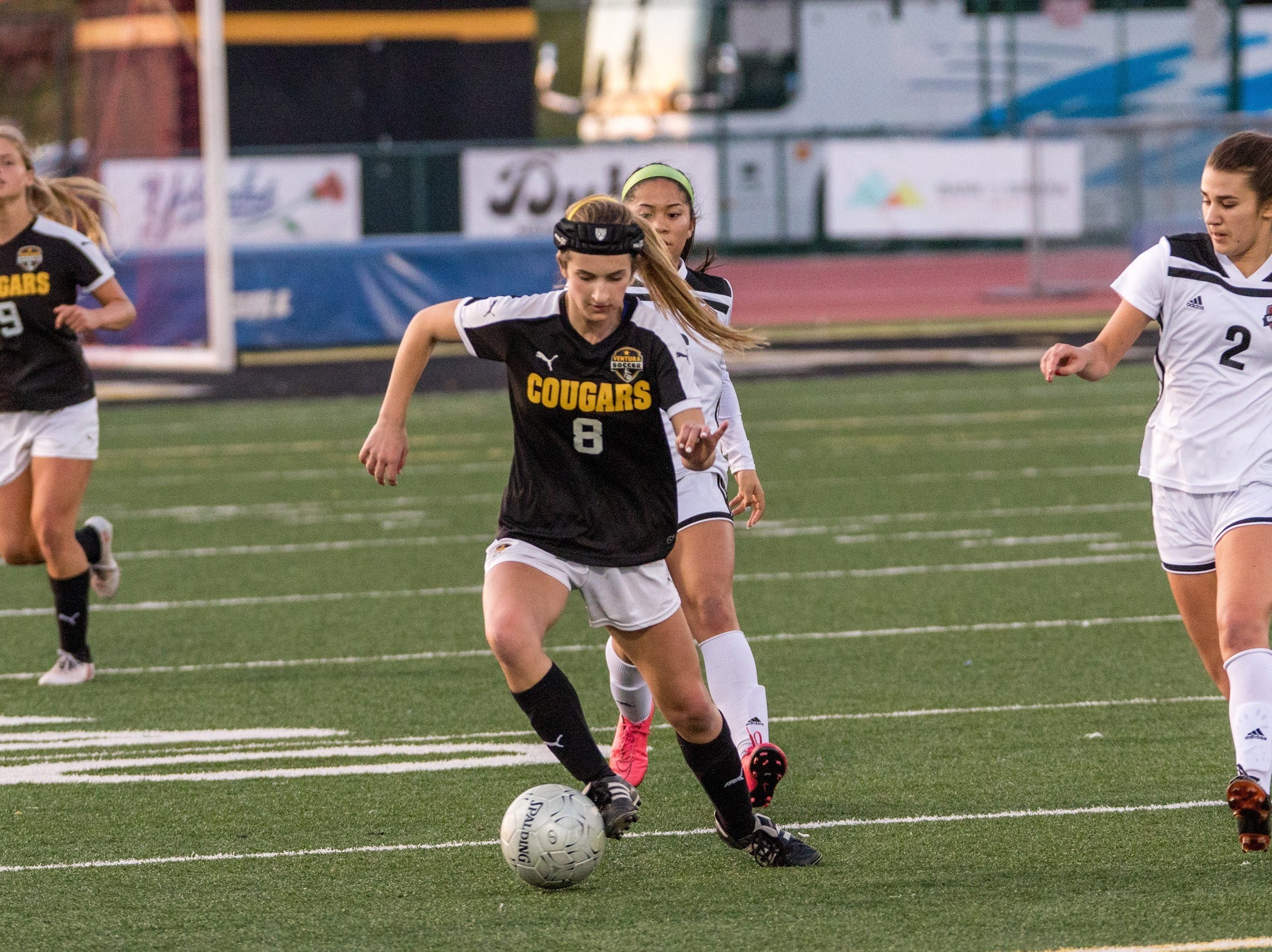 Senior Alex Kwasny dribbles upfield during Ventura's 4-1 win over visiting Glendora on Friday in the second round of the CIF-Southern Section Division 2 girls soccer playoffs at Larrabee Stadium.